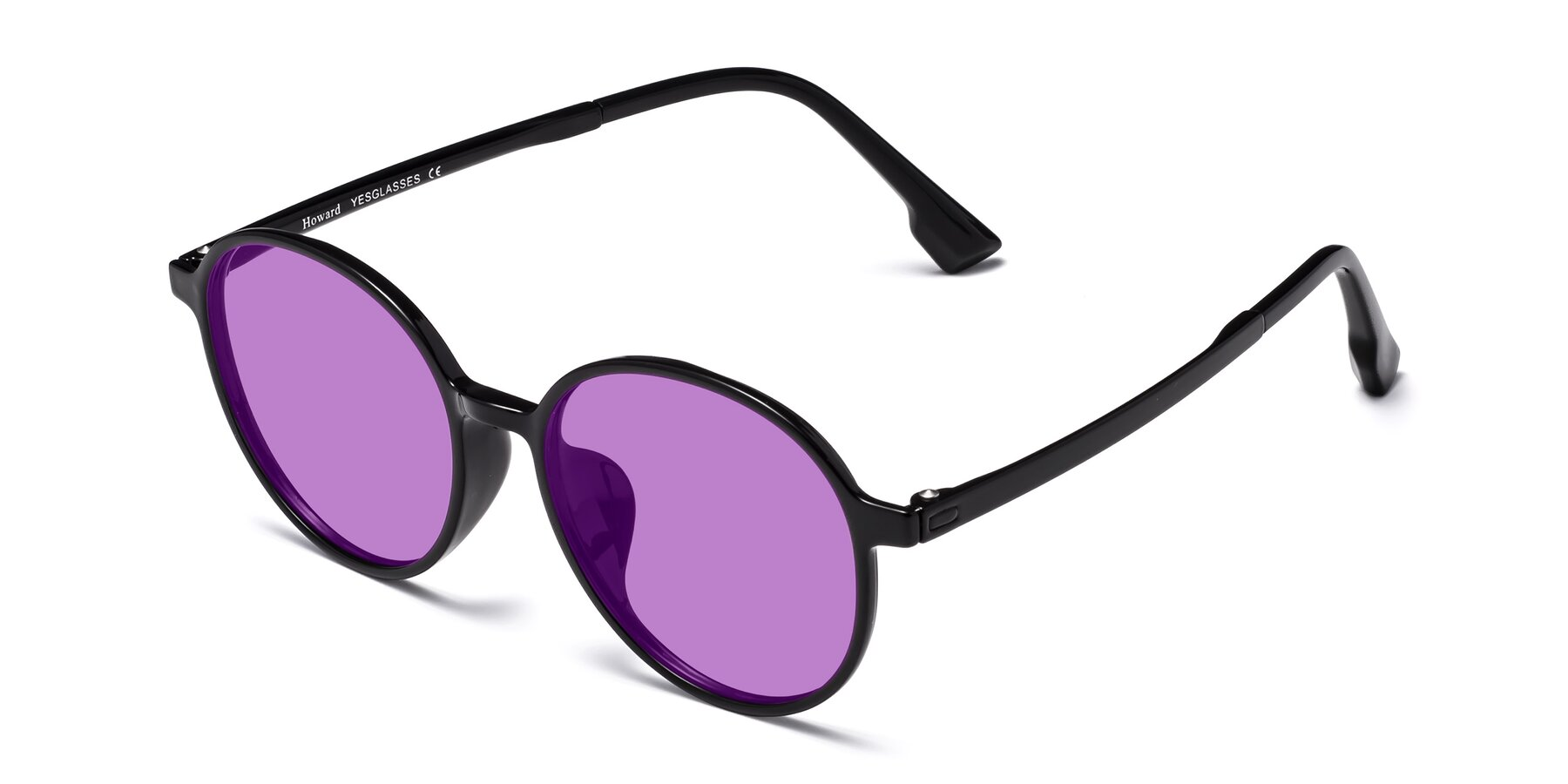 Angle of Howard in Black with Medium Purple Tinted Lenses