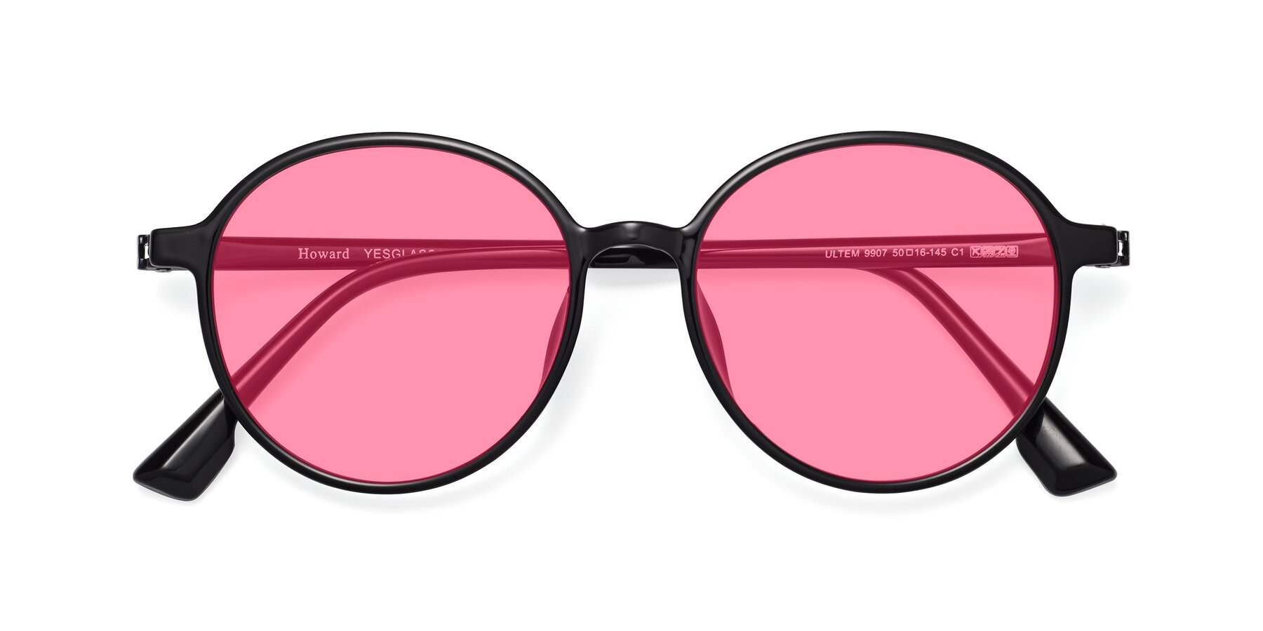 Folded Front of Howard in Black with Pink Tinted Lenses