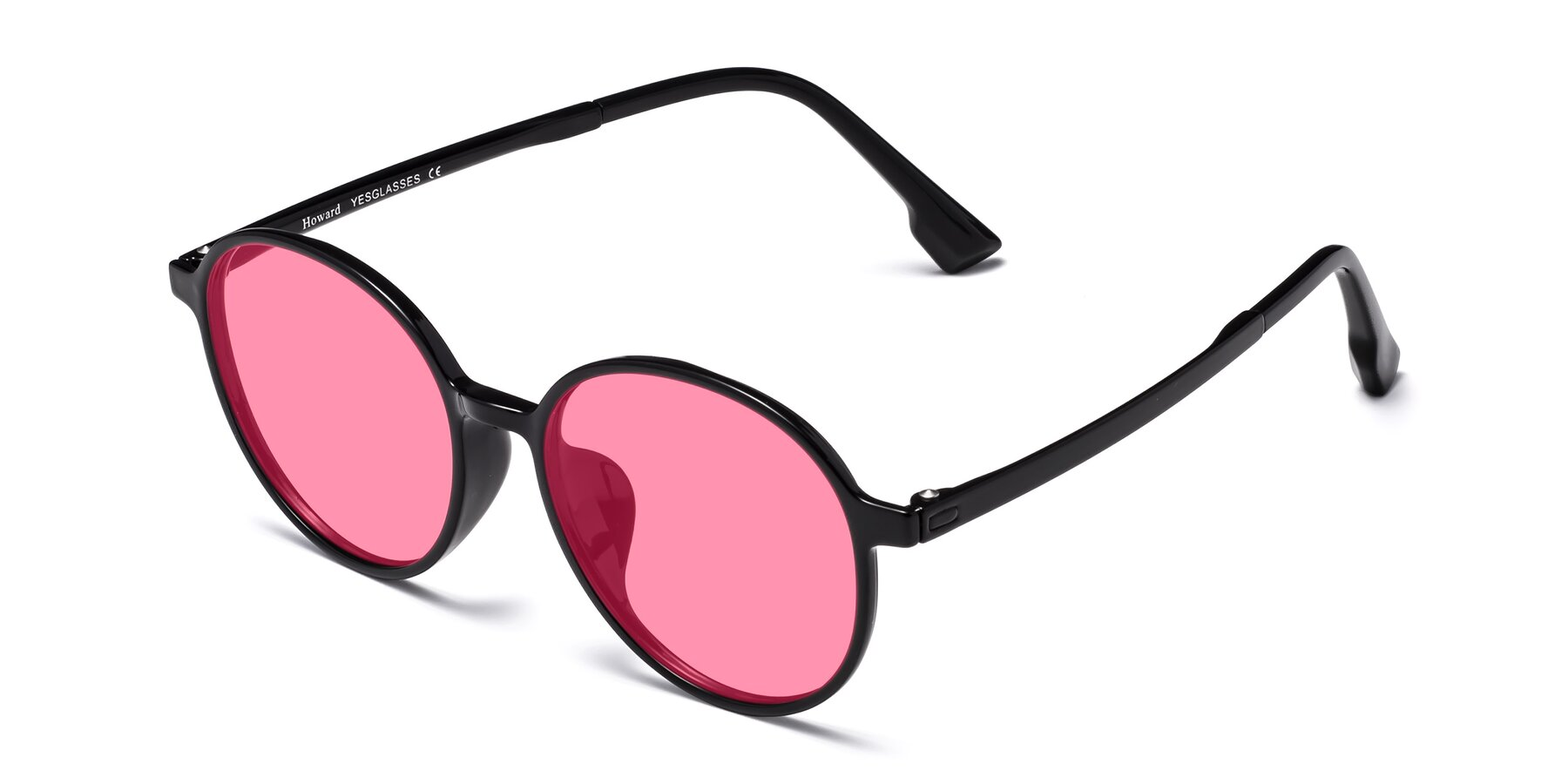 Angle of Howard in Black with Pink Tinted Lenses
