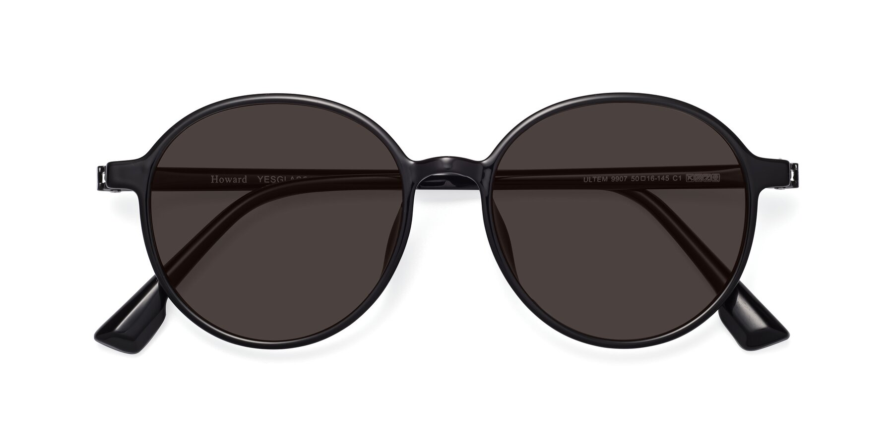 Folded Front of Howard in Black with Gray Tinted Lenses