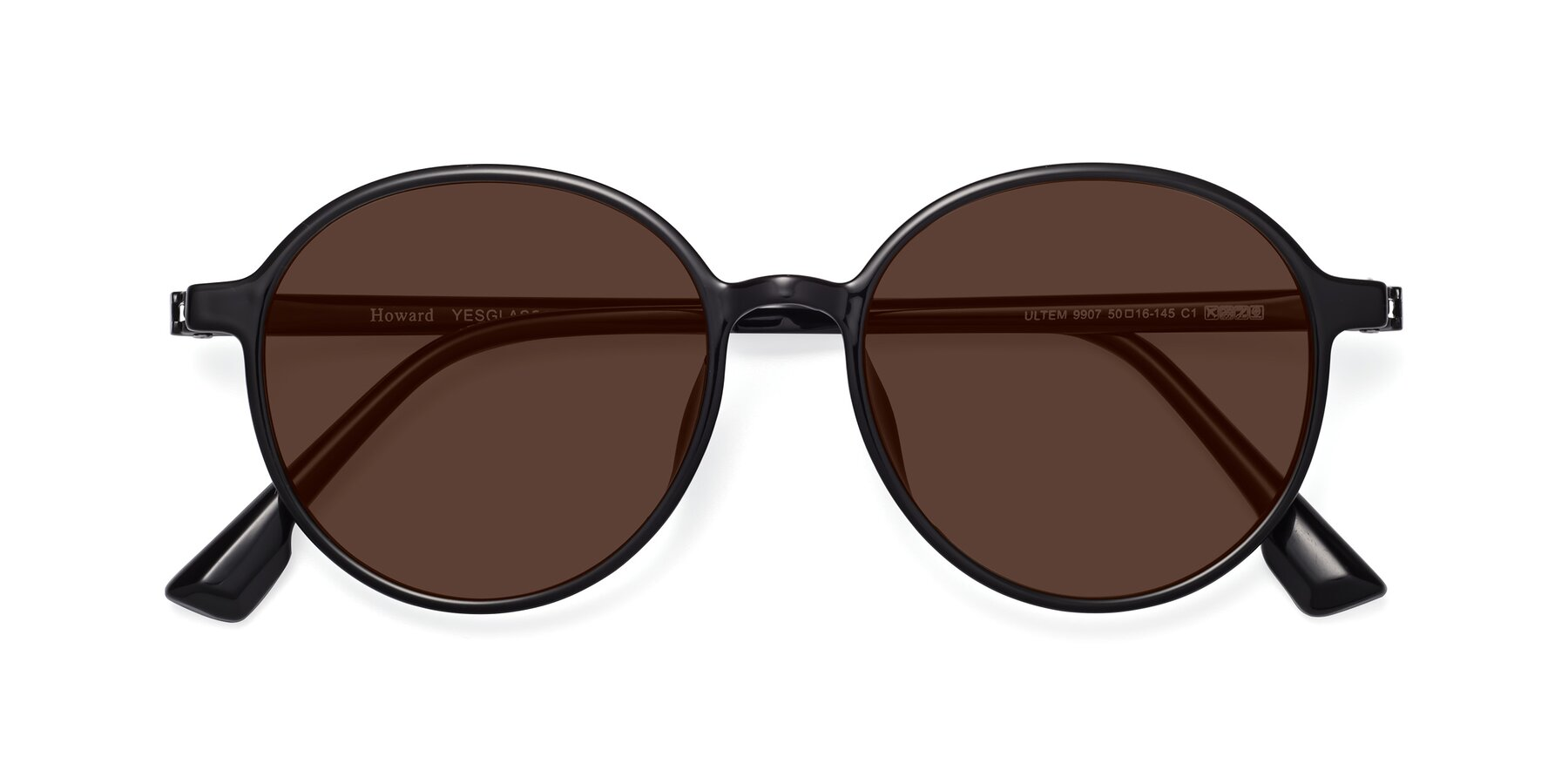 Folded Front of Howard in Black with Brown Tinted Lenses