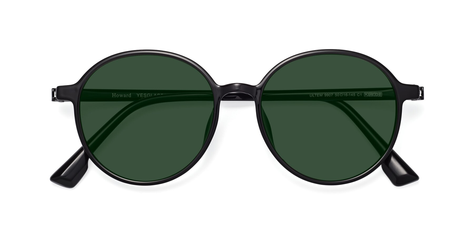 Folded Front of Howard in Black with Green Tinted Lenses