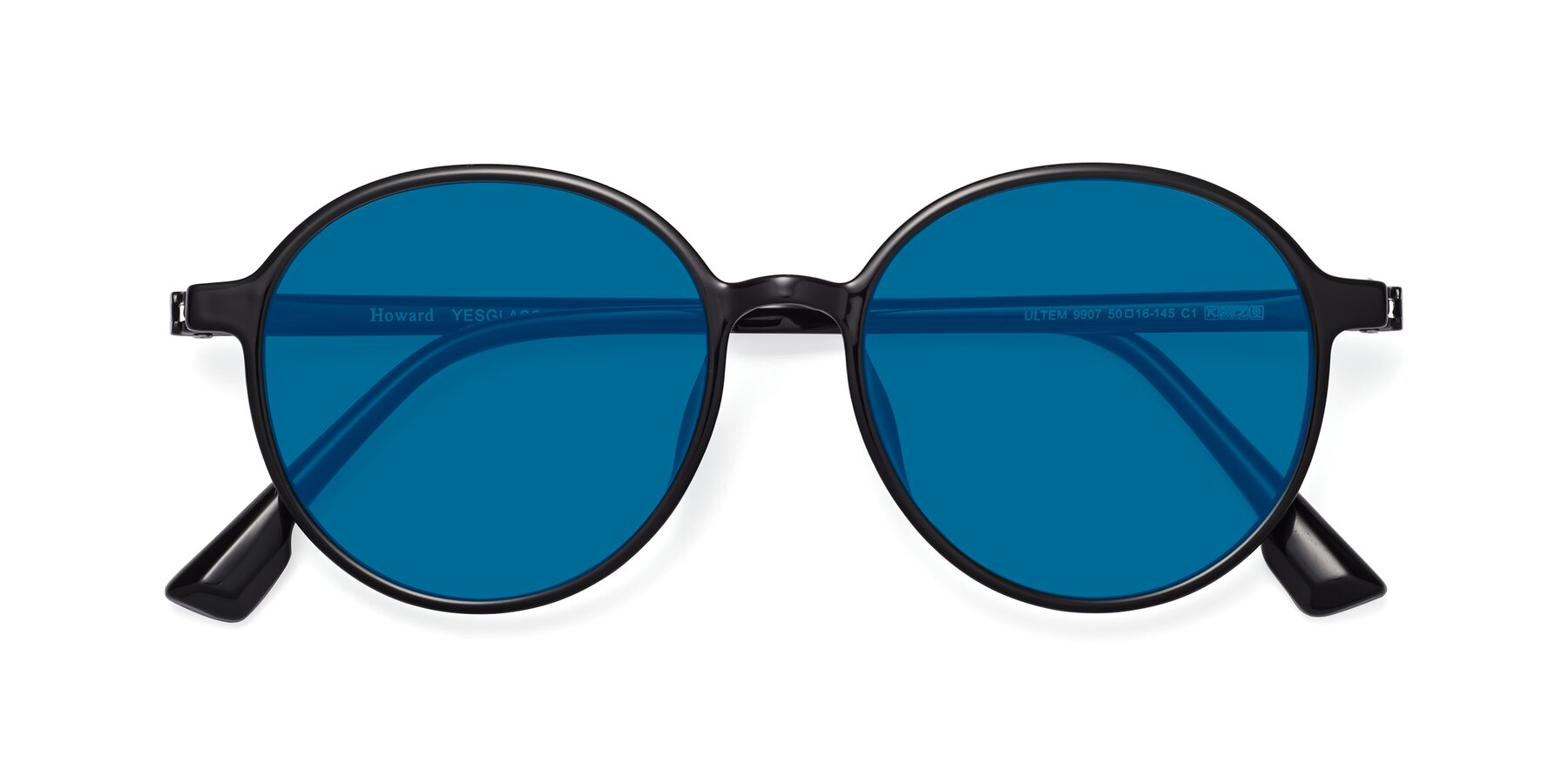 Folded Front of Howard in Black with Blue Tinted Lenses