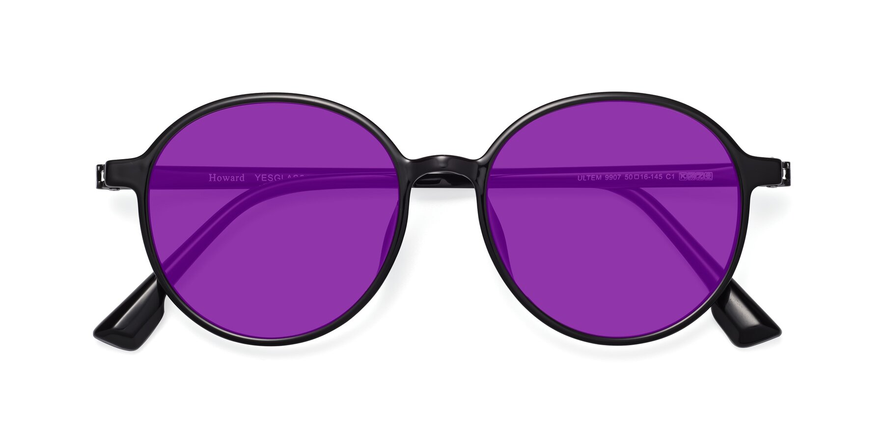 Folded Front of Howard in Black with Purple Tinted Lenses