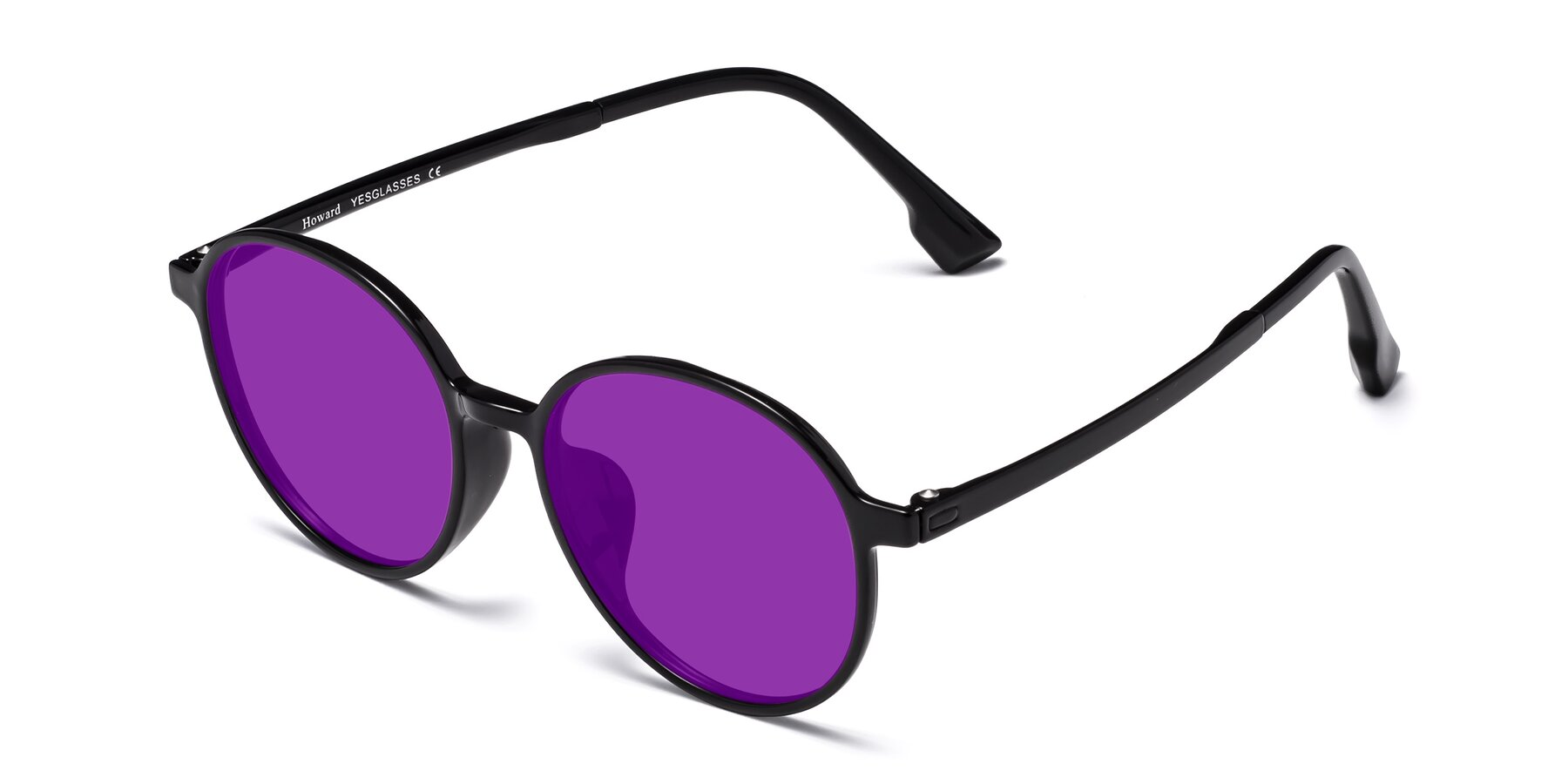 Angle of Howard in Black with Purple Tinted Lenses