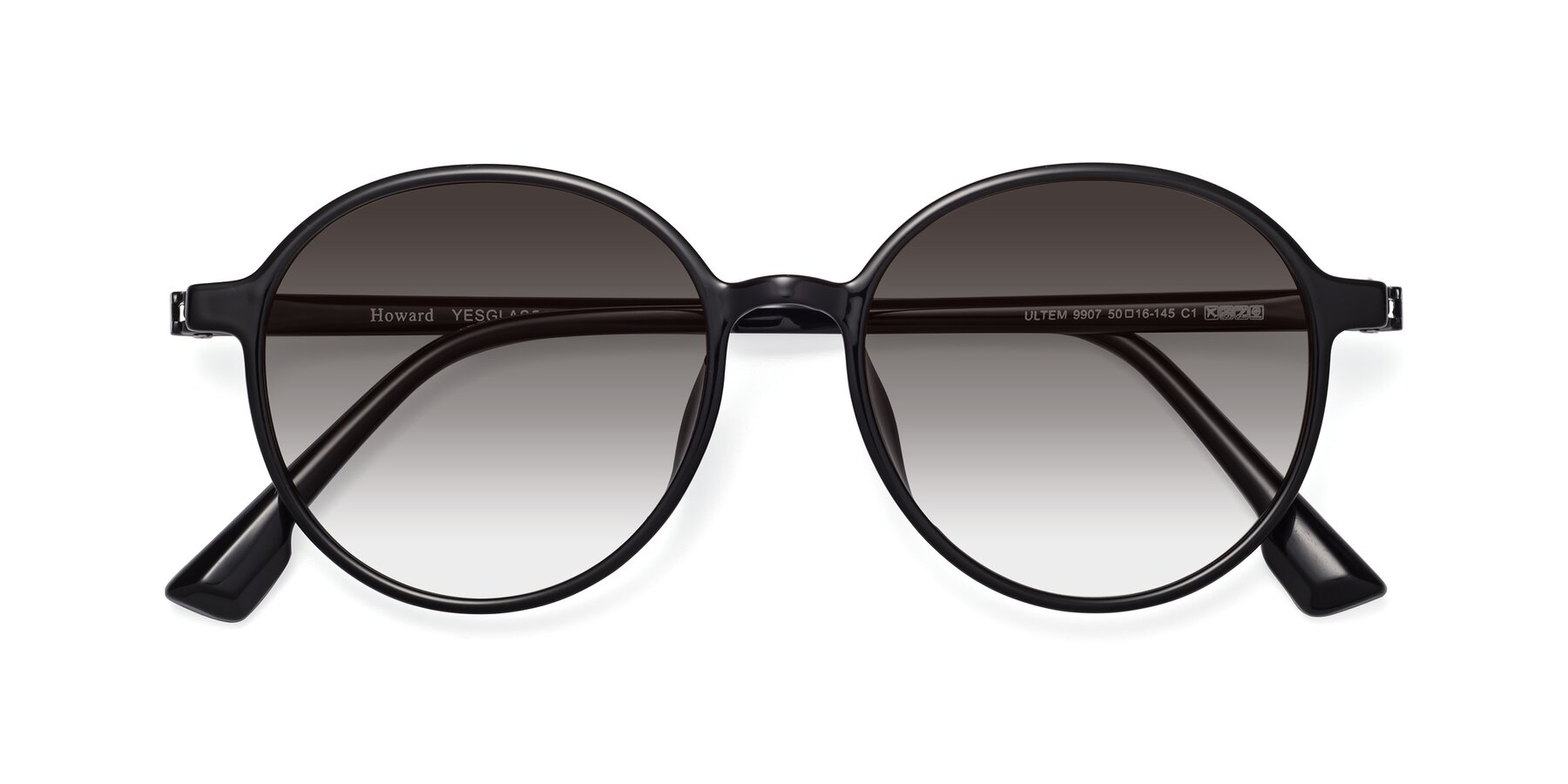Folded Front of Howard in Black with Gray Gradient Lenses