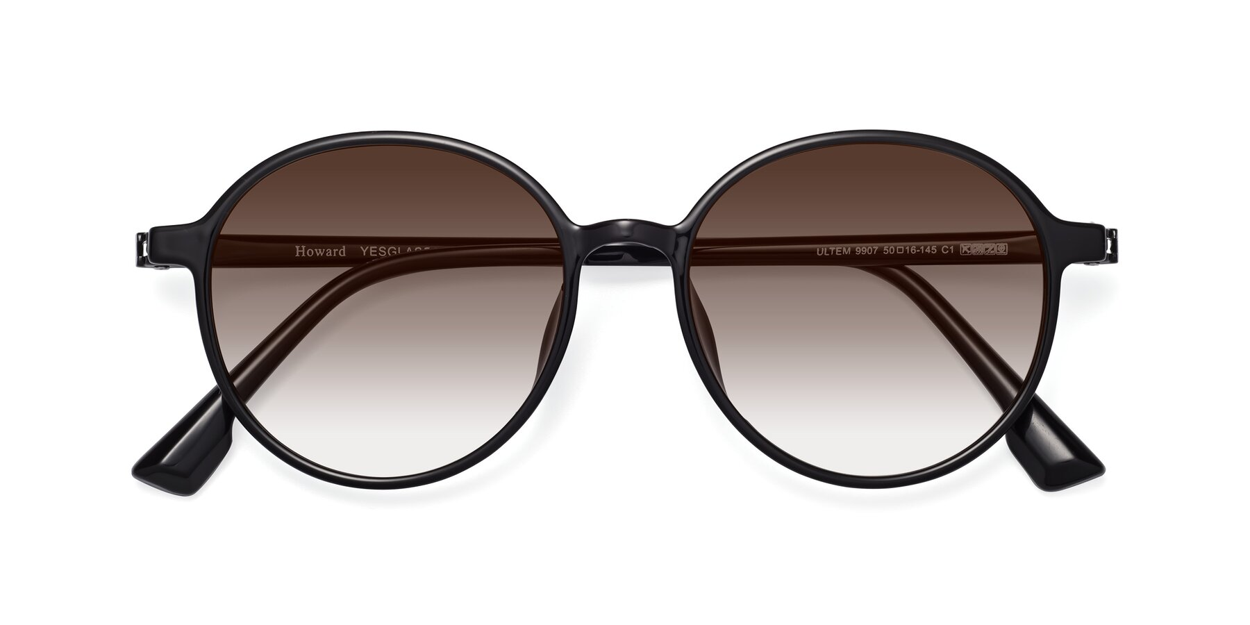 Folded Front of Howard in Black with Brown Gradient Lenses