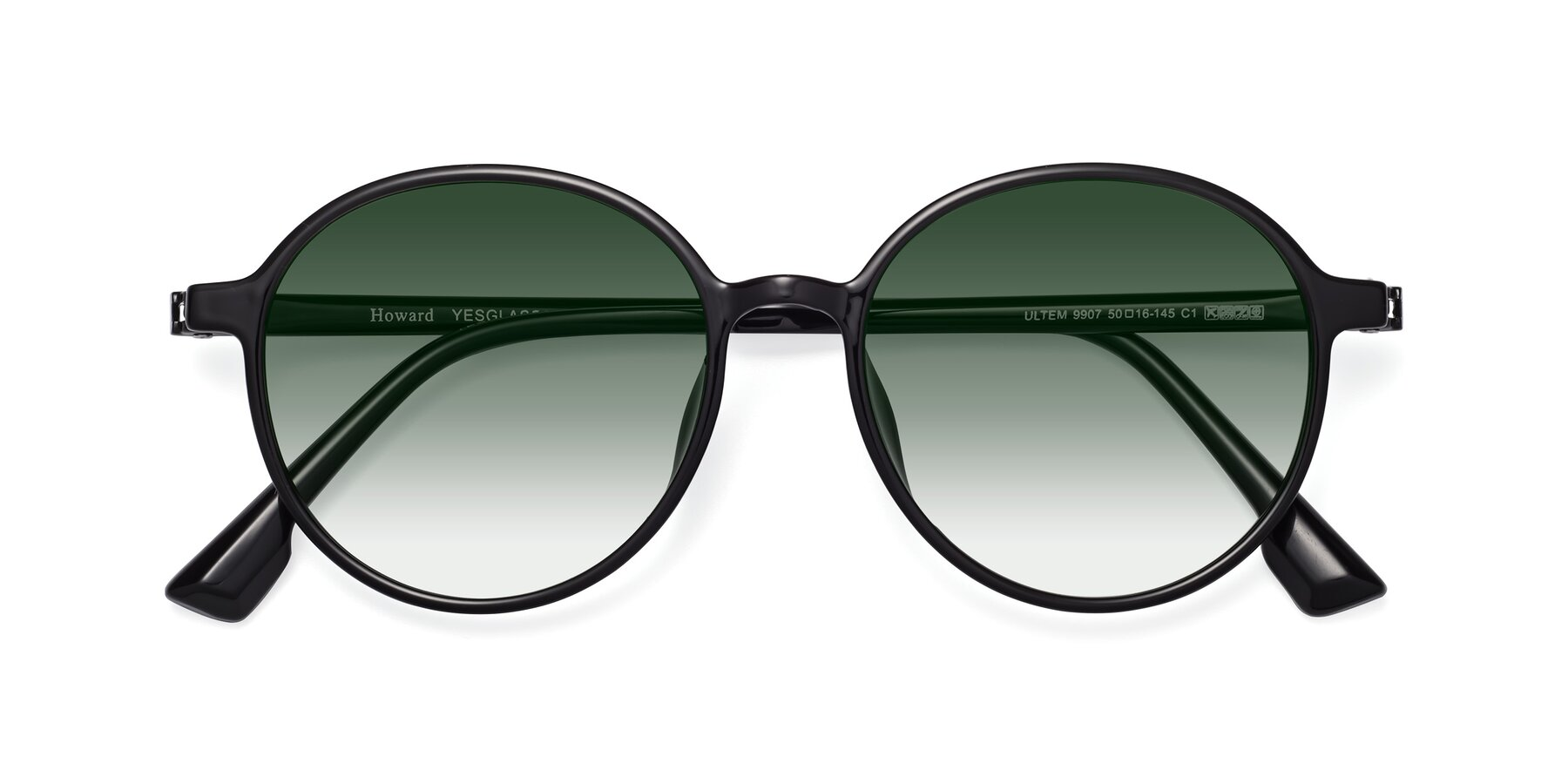 Folded Front of Howard in Black with Green Gradient Lenses