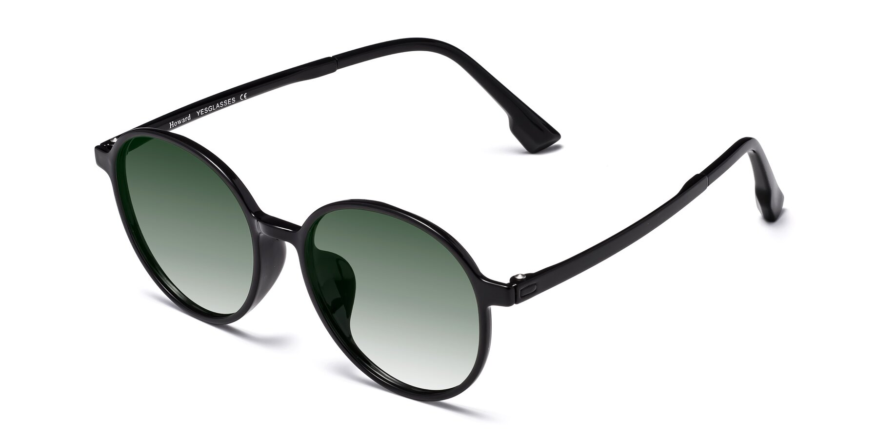 Angle of Howard in Black with Green Gradient Lenses