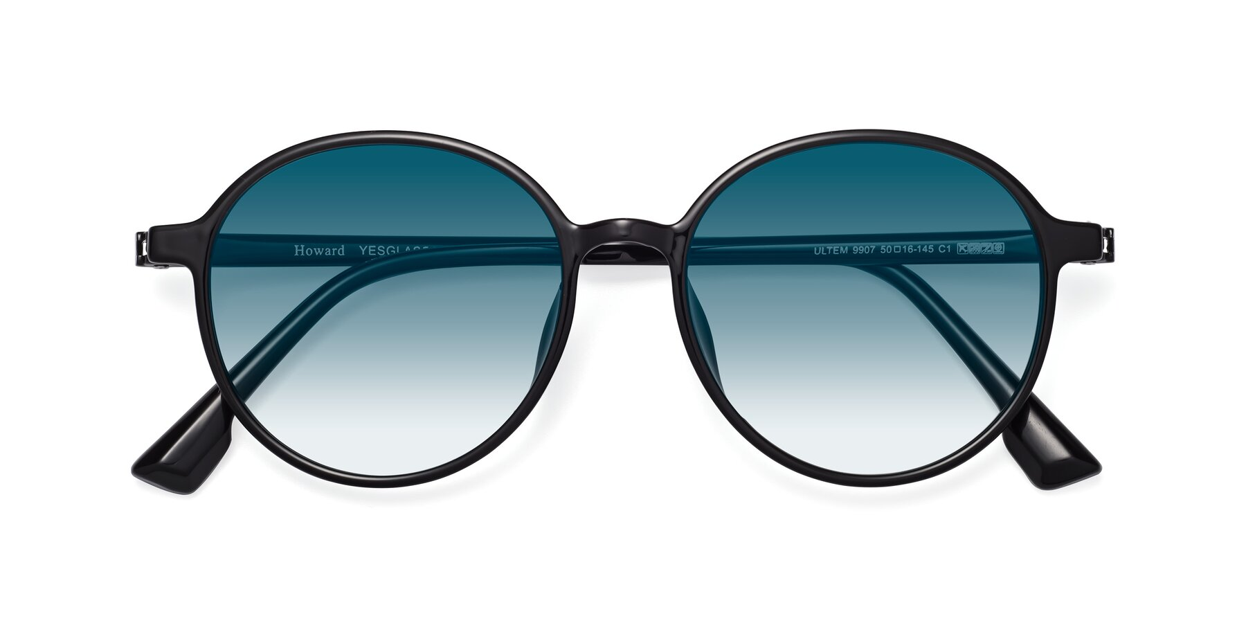 Folded Front of Howard in Black with Blue Gradient Lenses