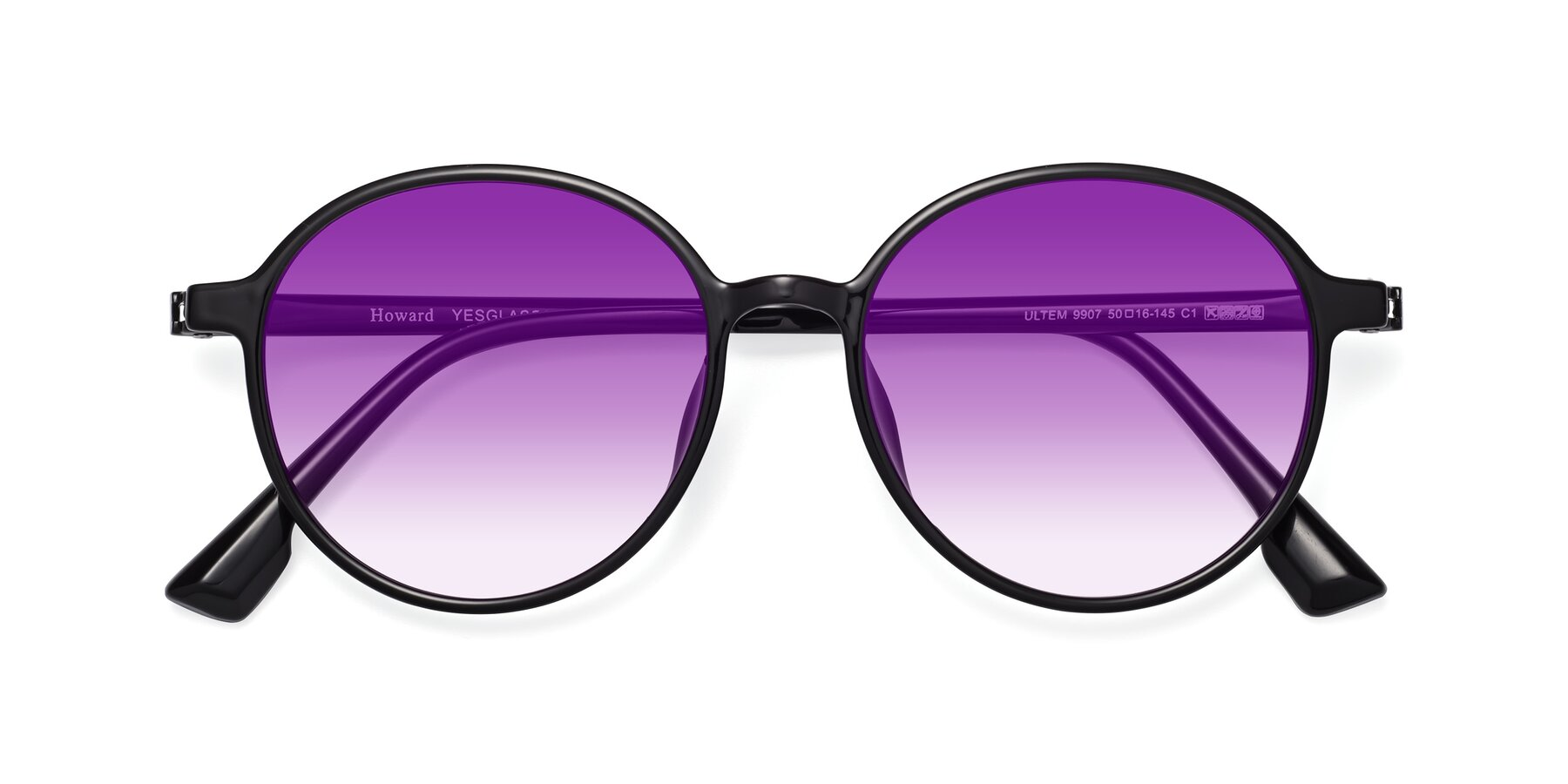 Folded Front of Howard in Black with Purple Gradient Lenses