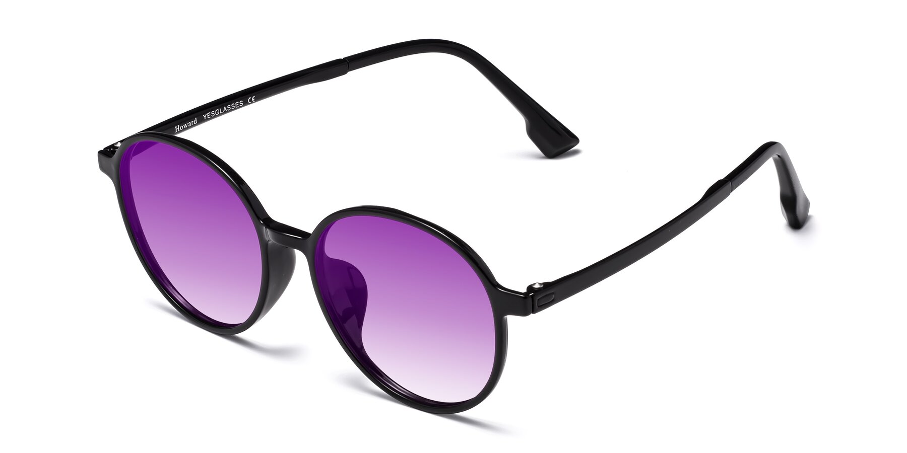 Angle of Howard in Black with Purple Gradient Lenses