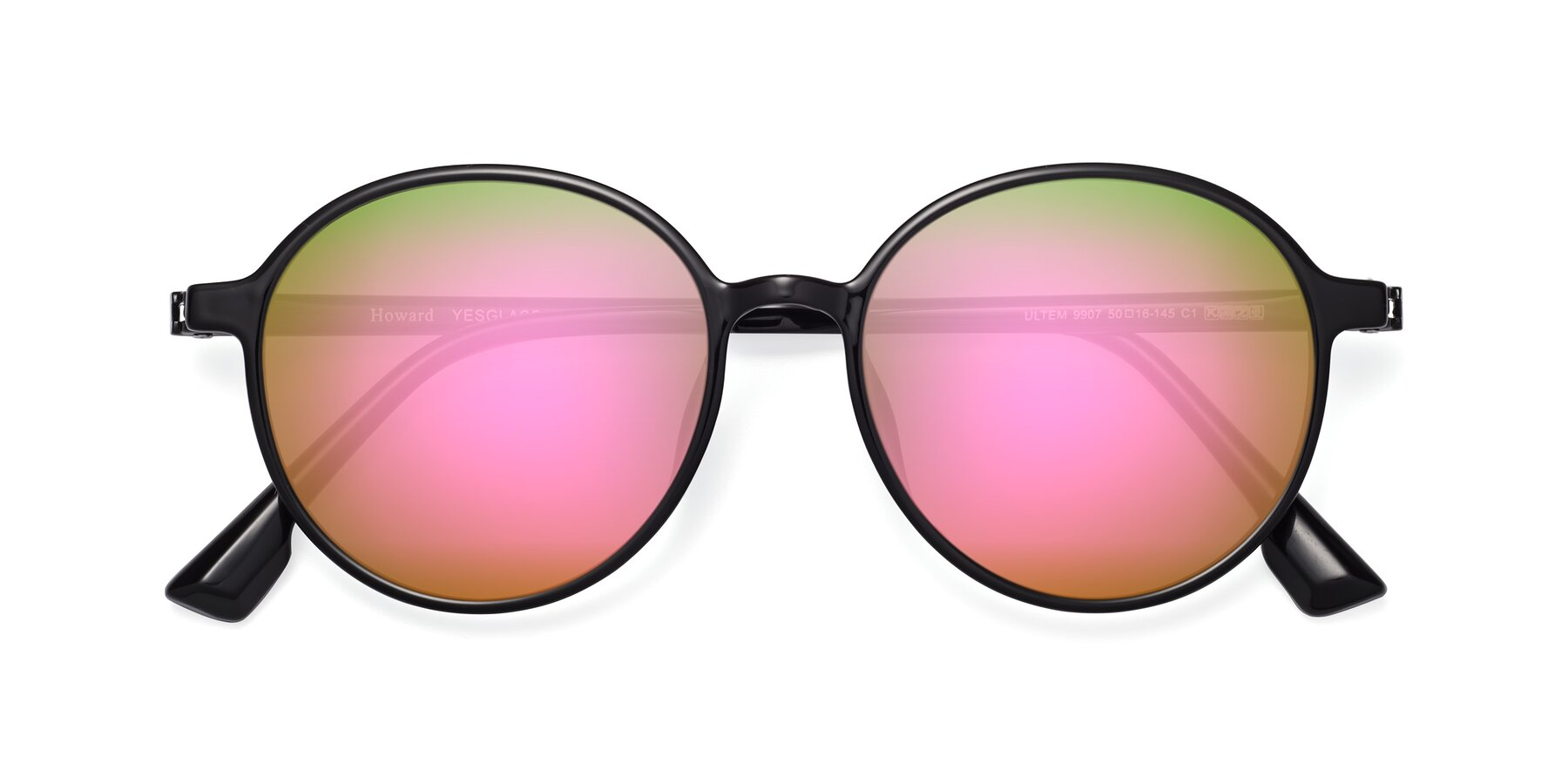 Folded Front of Howard in Black with Pink Mirrored Lenses