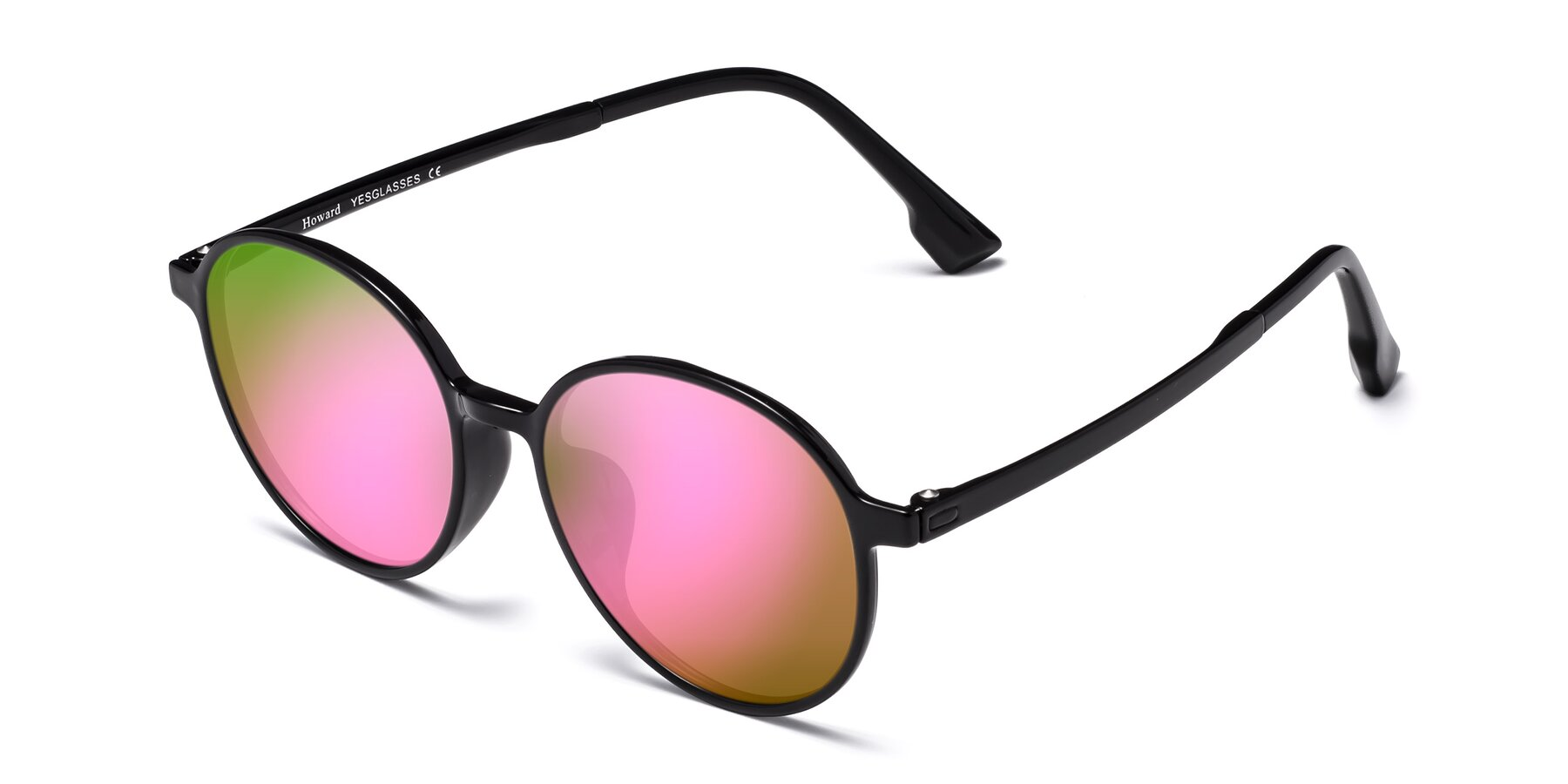 Angle of Howard in Black with Pink Mirrored Lenses