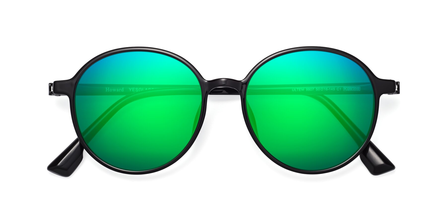 Folded Front of Howard in Black with Green Mirrored Lenses