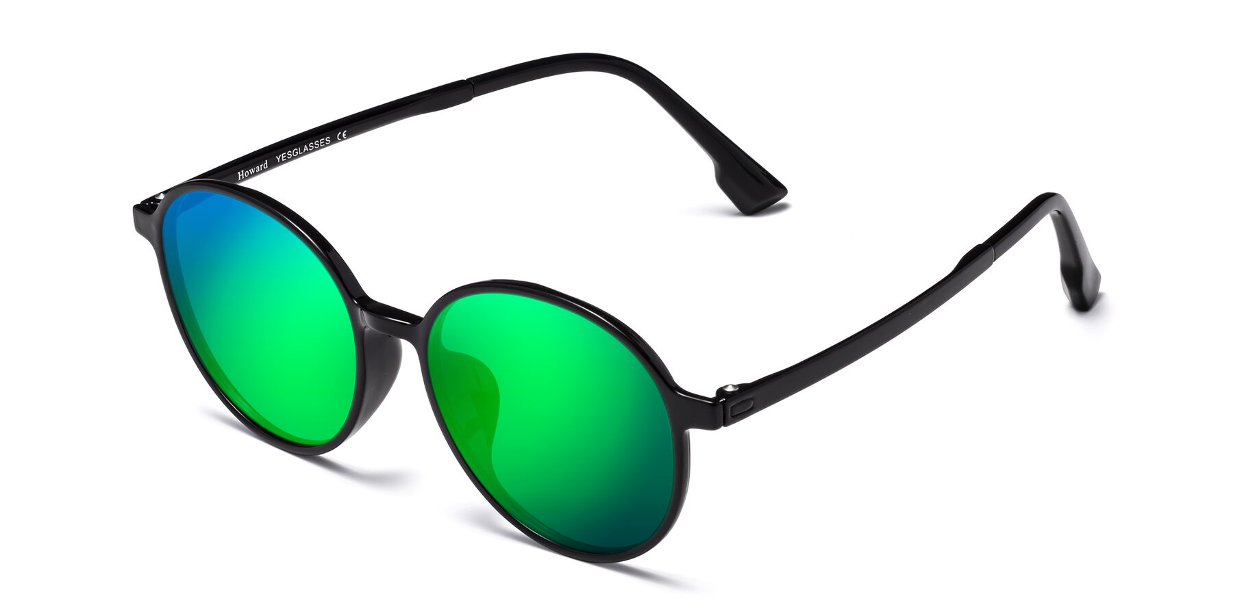 Angle of Howard in Black with Green Mirrored Lenses