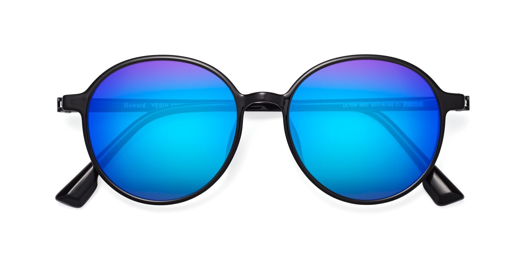 Folded Front of Howard in Black with Blue Mirrored Lenses