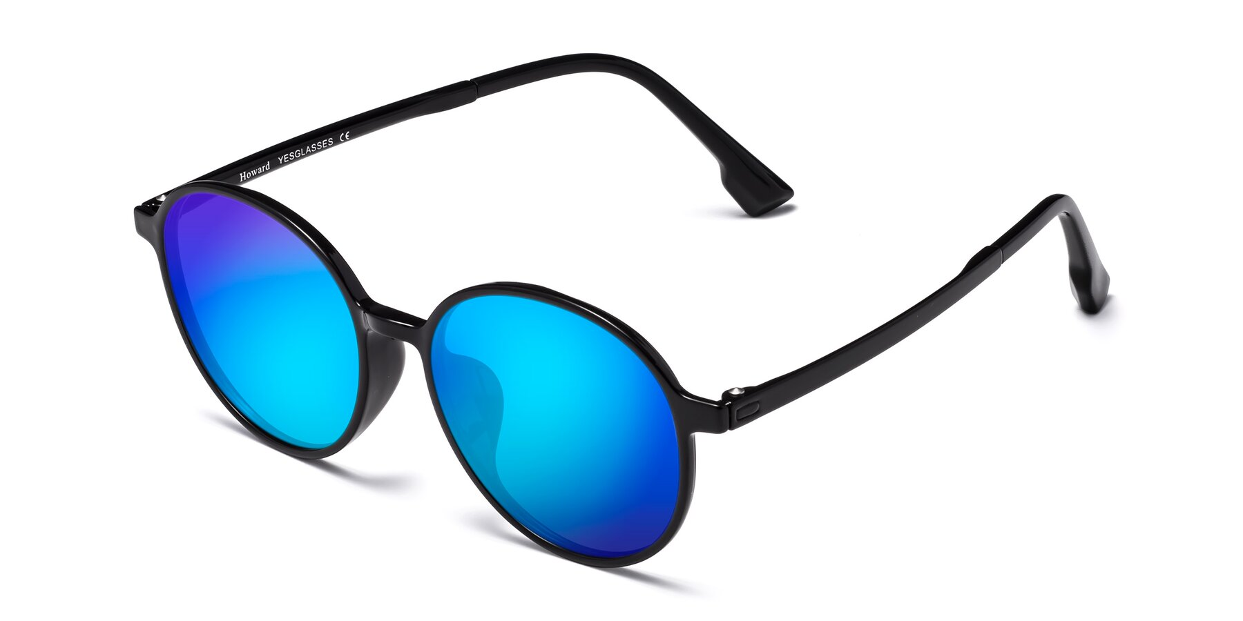 Angle of Howard in Black with Blue Mirrored Lenses