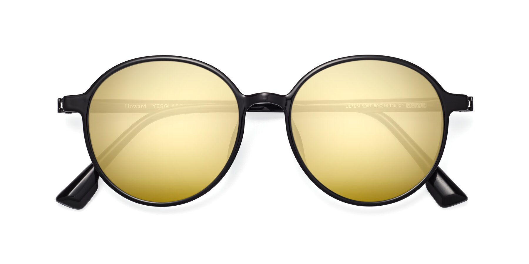 Folded Front of Howard in Black with Gold Mirrored Lenses