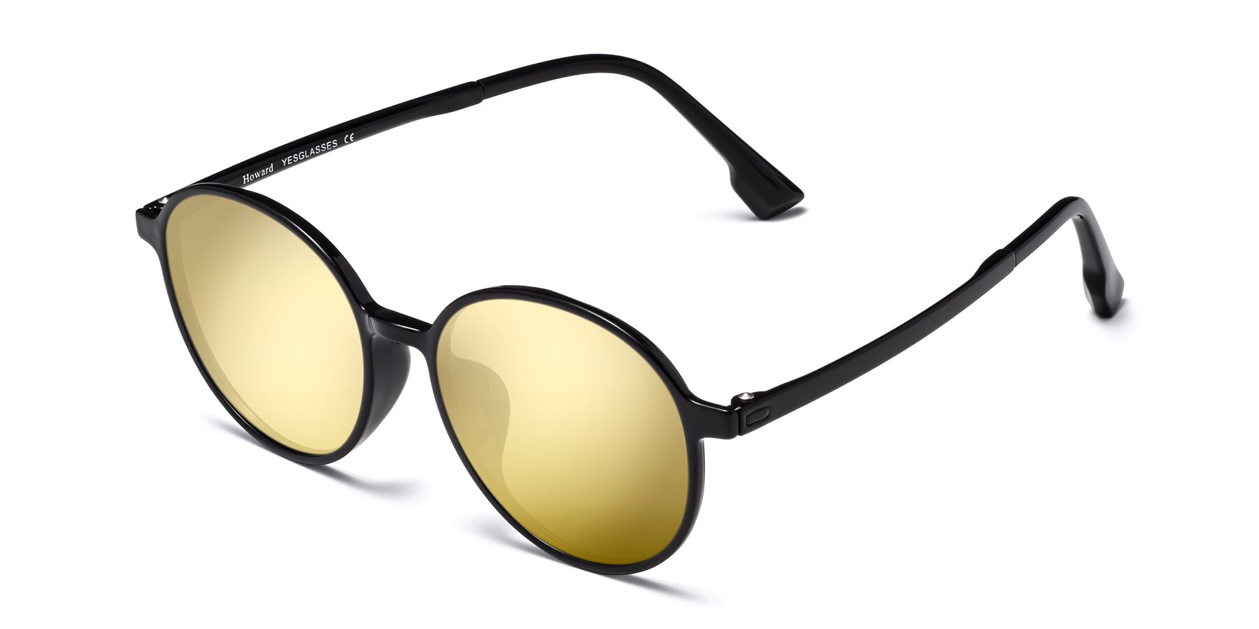 Angle of Howard in Black with Gold Mirrored Lenses