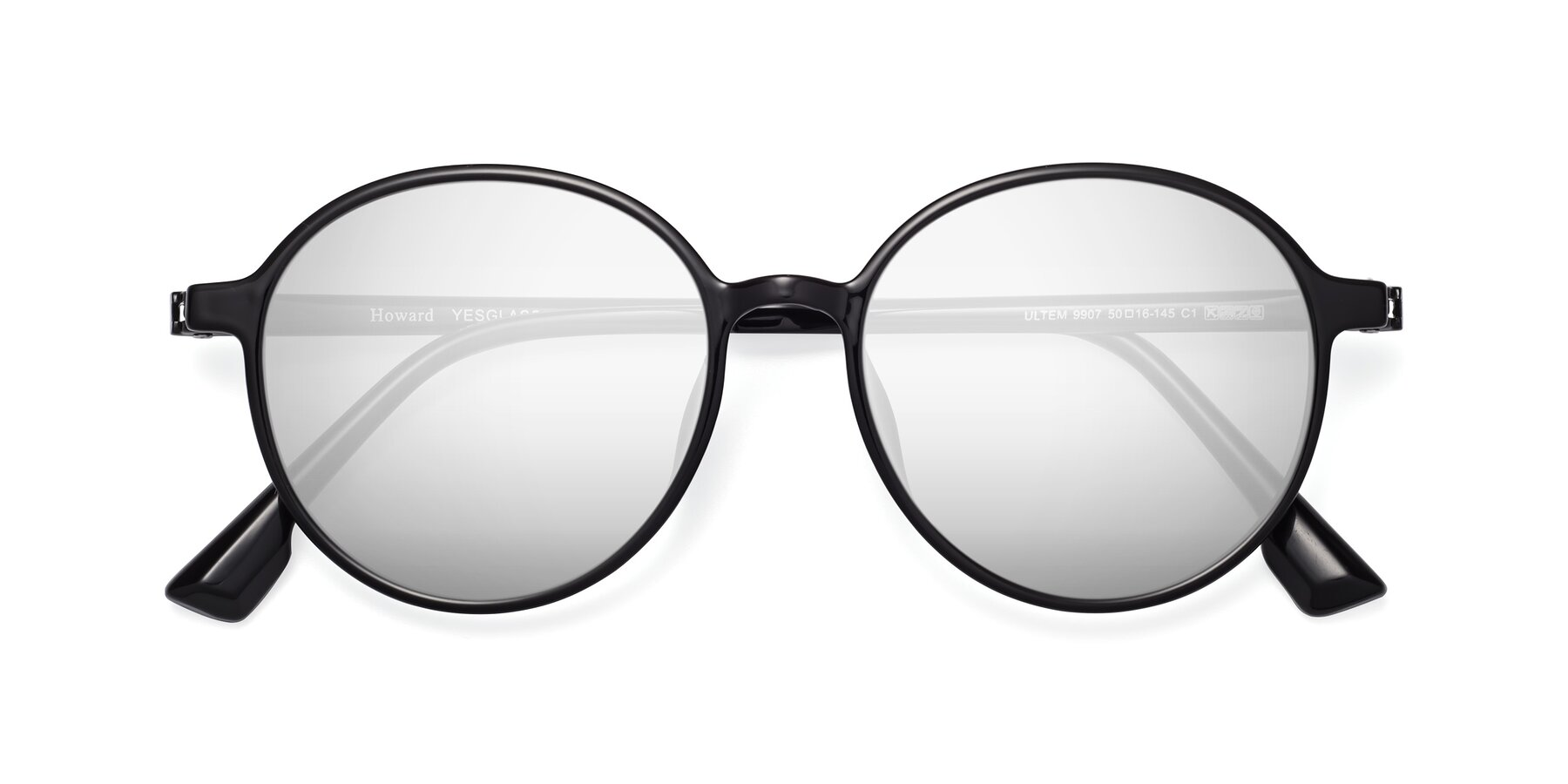 Folded Front of Howard in Black with Silver Mirrored Lenses