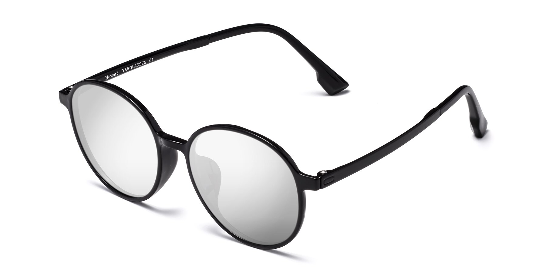 Angle of Howard in Black with Silver Mirrored Lenses
