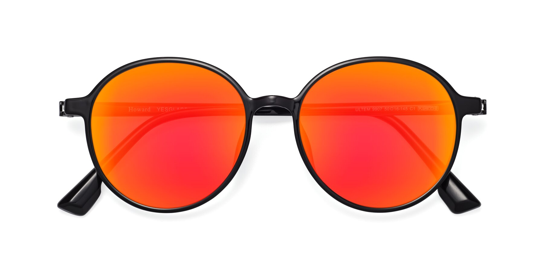 Folded Front of Howard in Black with Red Gold Mirrored Lenses