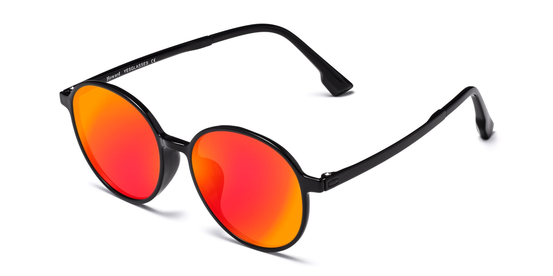 Angle of Howard in Black with Red Gold Mirrored Lenses