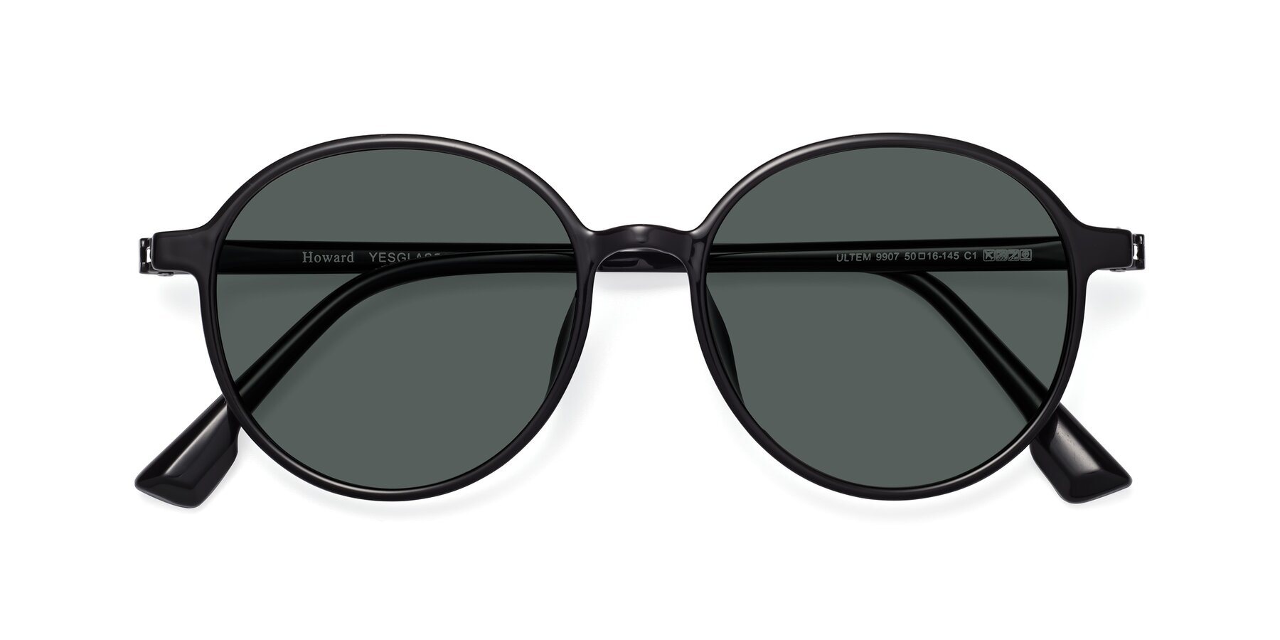Folded Front of Howard in Black with Gray Polarized Lenses