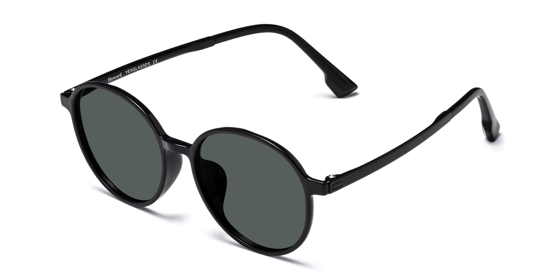 Angle of Howard in Black with Gray Polarized Lenses