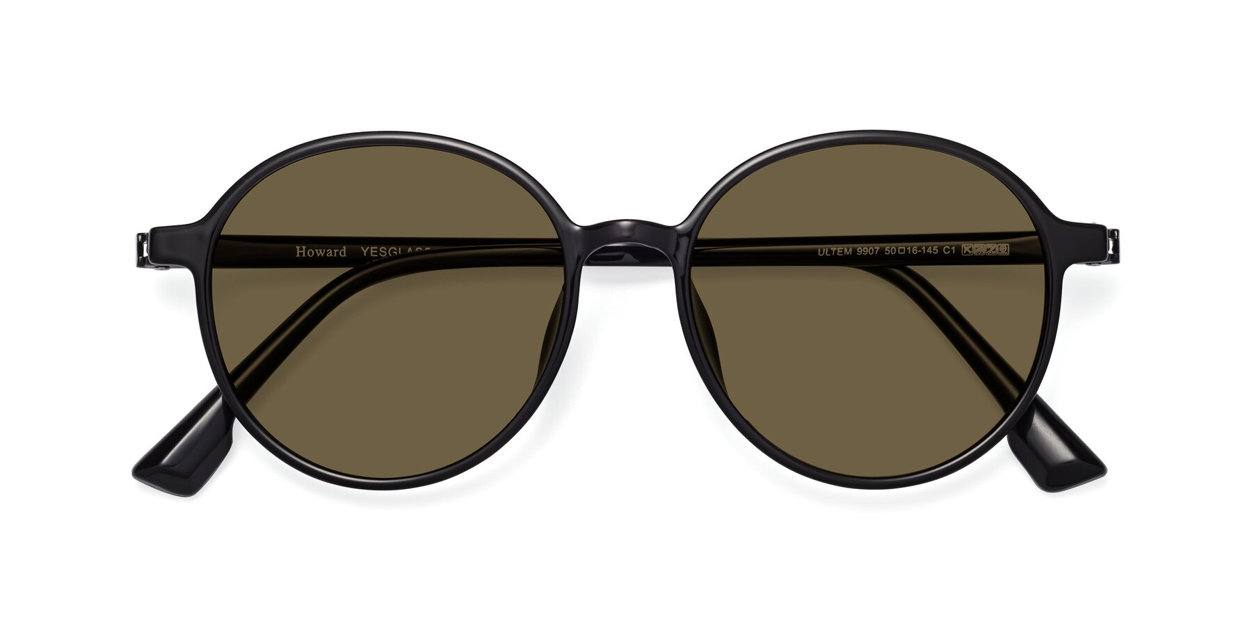 Folded Front of Howard in Black with Brown Polarized Lenses
