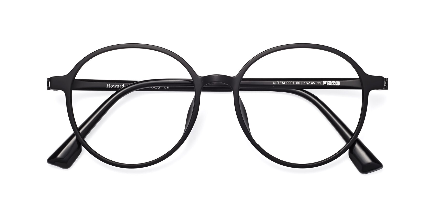 Folded Front of Howard in Matte Black with Clear Eyeglass Lenses