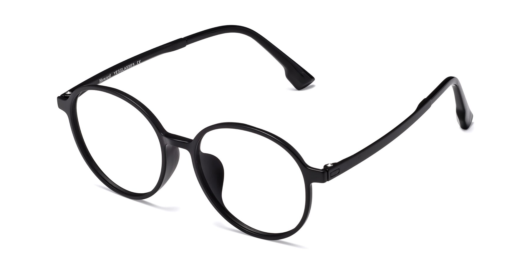 Angle of Howard in Matte Black with Clear Eyeglass Lenses