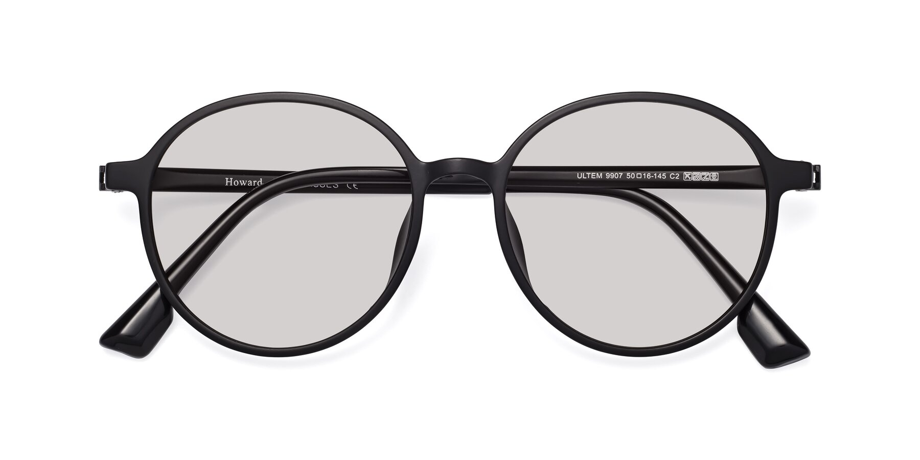Folded Front of Howard in Matte Black with Light Gray Tinted Lenses