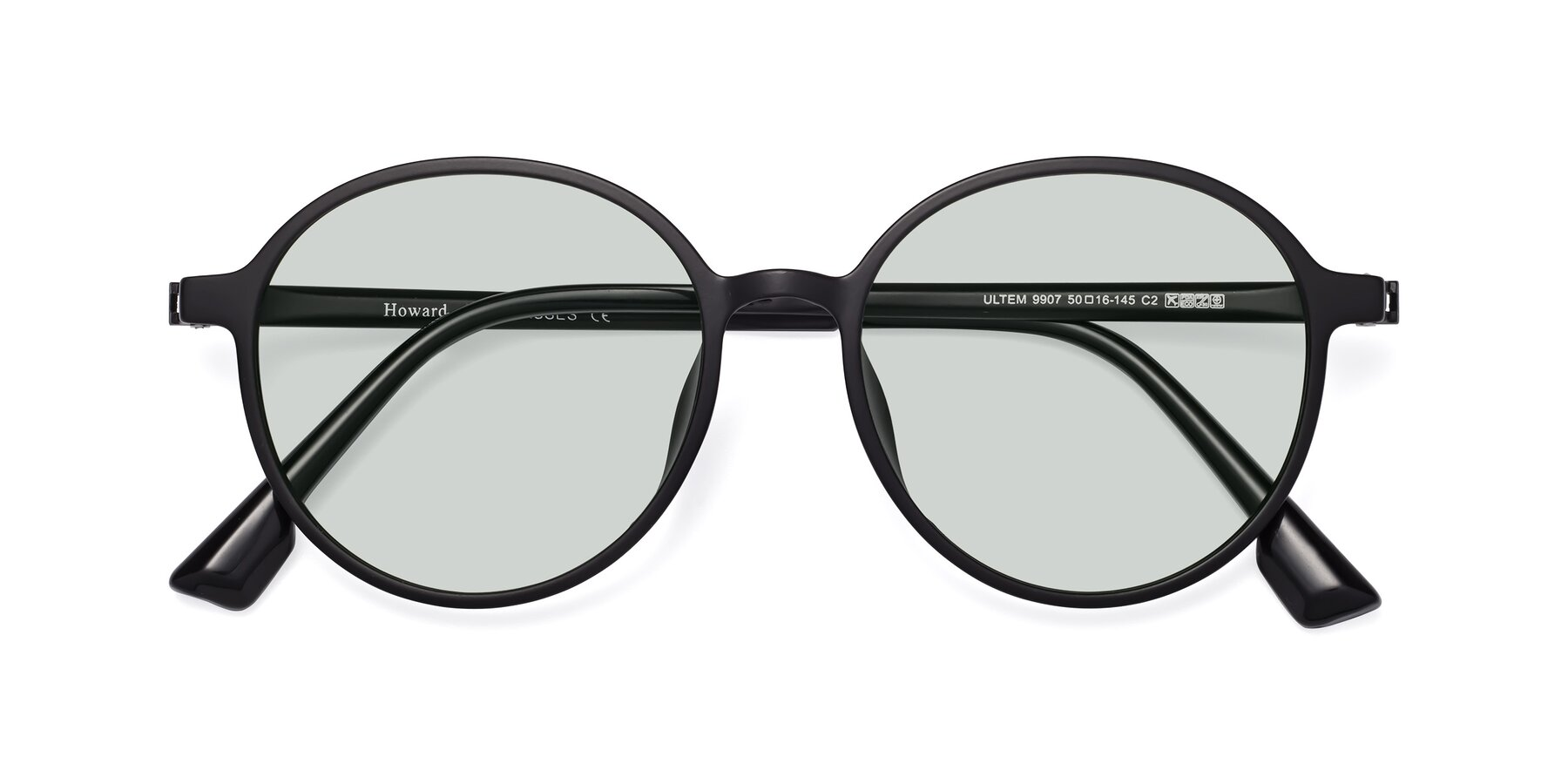 Folded Front of Howard in Matte Black with Light Green Tinted Lenses