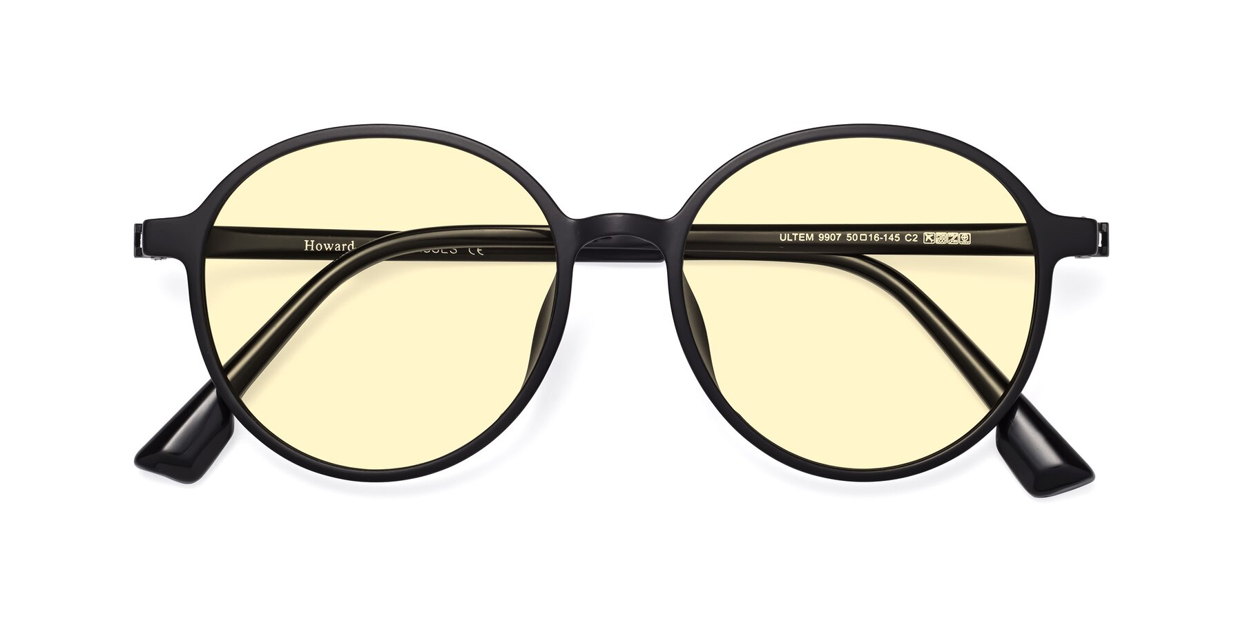 Folded Front of Howard in Matte Black with Light Yellow Tinted Lenses