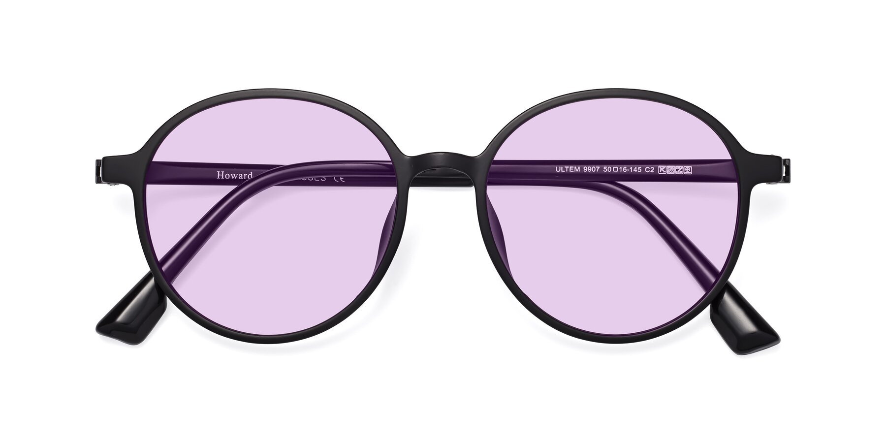 Folded Front of Howard in Matte Black with Light Purple Tinted Lenses