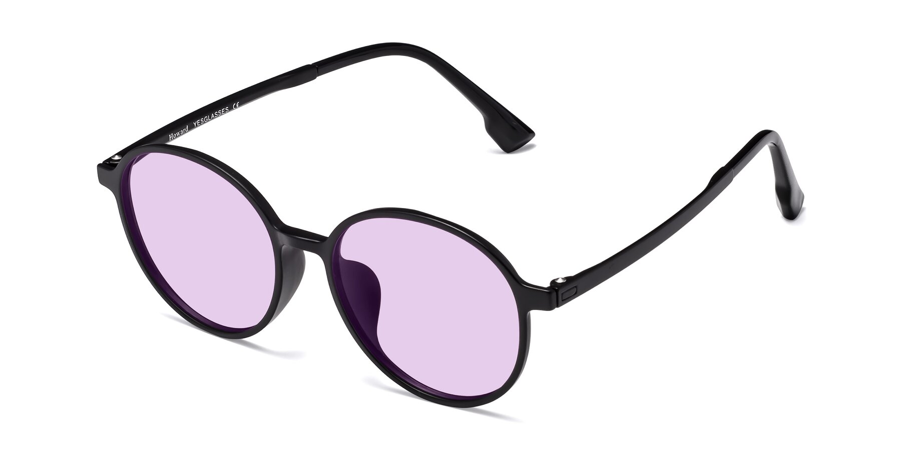 Angle of Howard in Matte Black with Light Purple Tinted Lenses