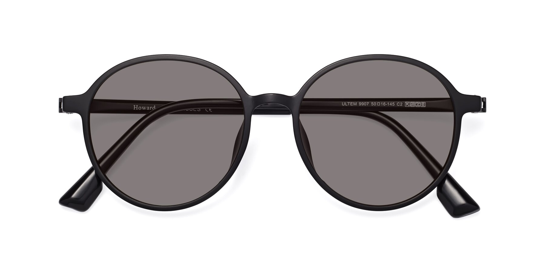 Folded Front of Howard in Matte Black with Medium Gray Tinted Lenses