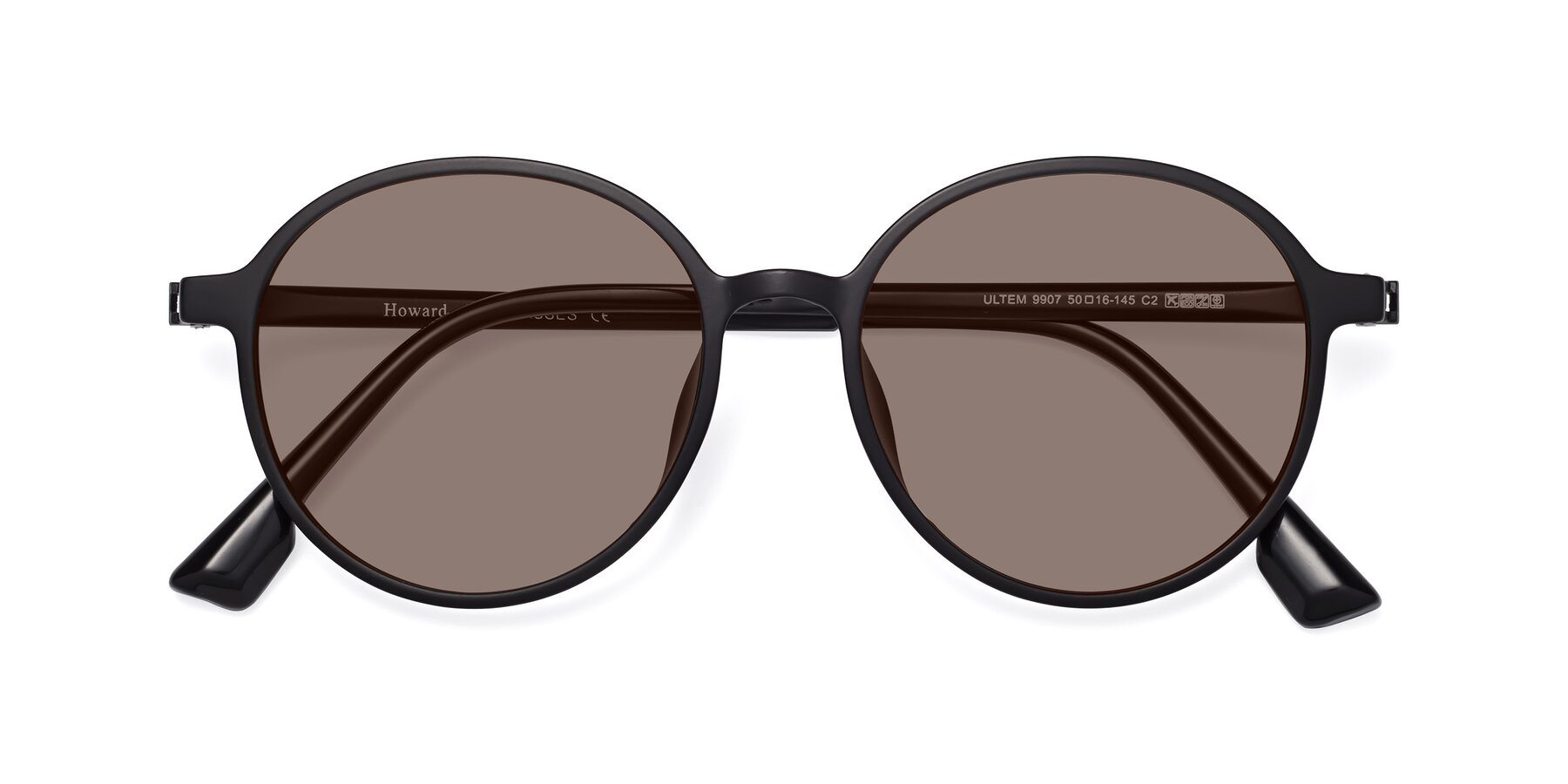 Folded Front of Howard in Matte Black with Medium Brown Tinted Lenses