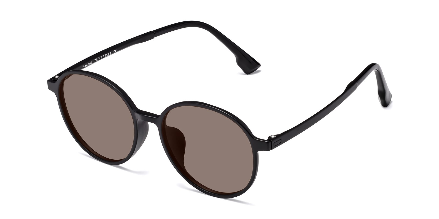 Angle of Howard in Matte Black with Medium Brown Tinted Lenses