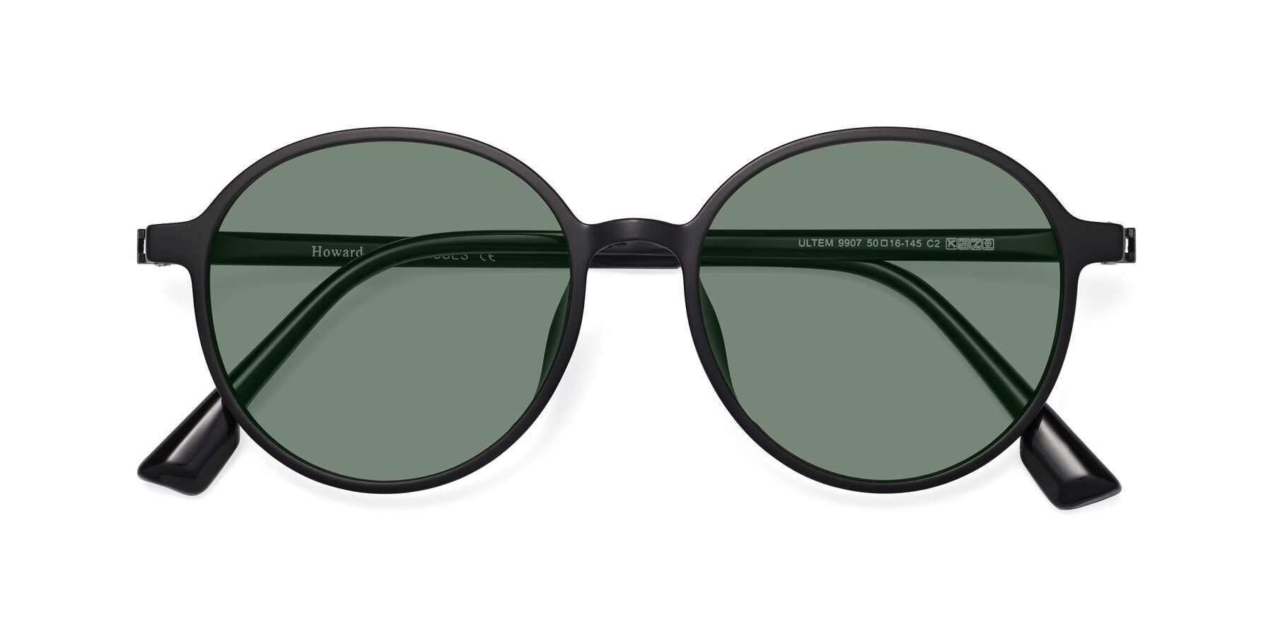 Folded Front of Howard in Matte Black with Medium Green Tinted Lenses