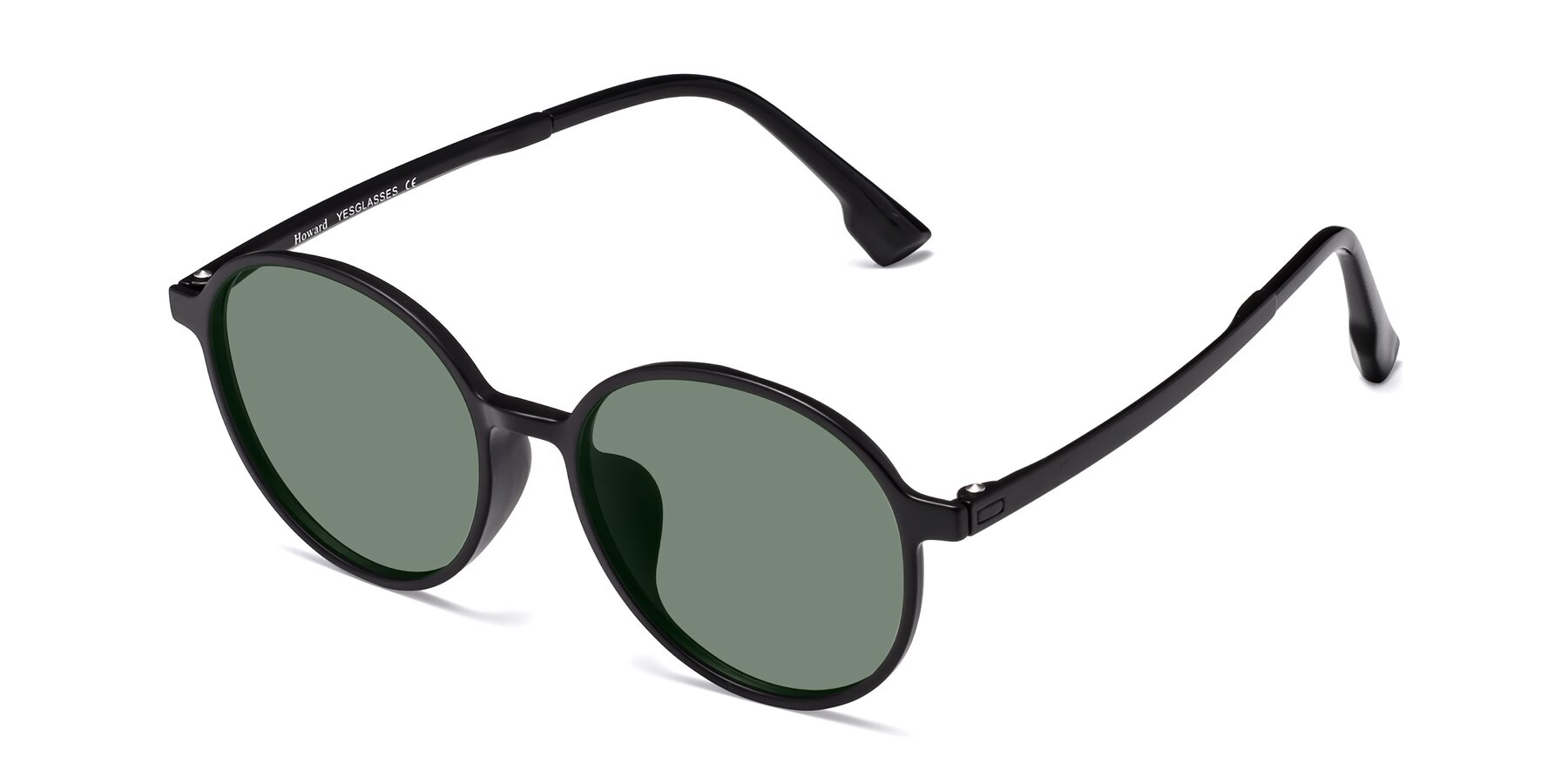 Angle of Howard in Matte Black with Medium Green Tinted Lenses