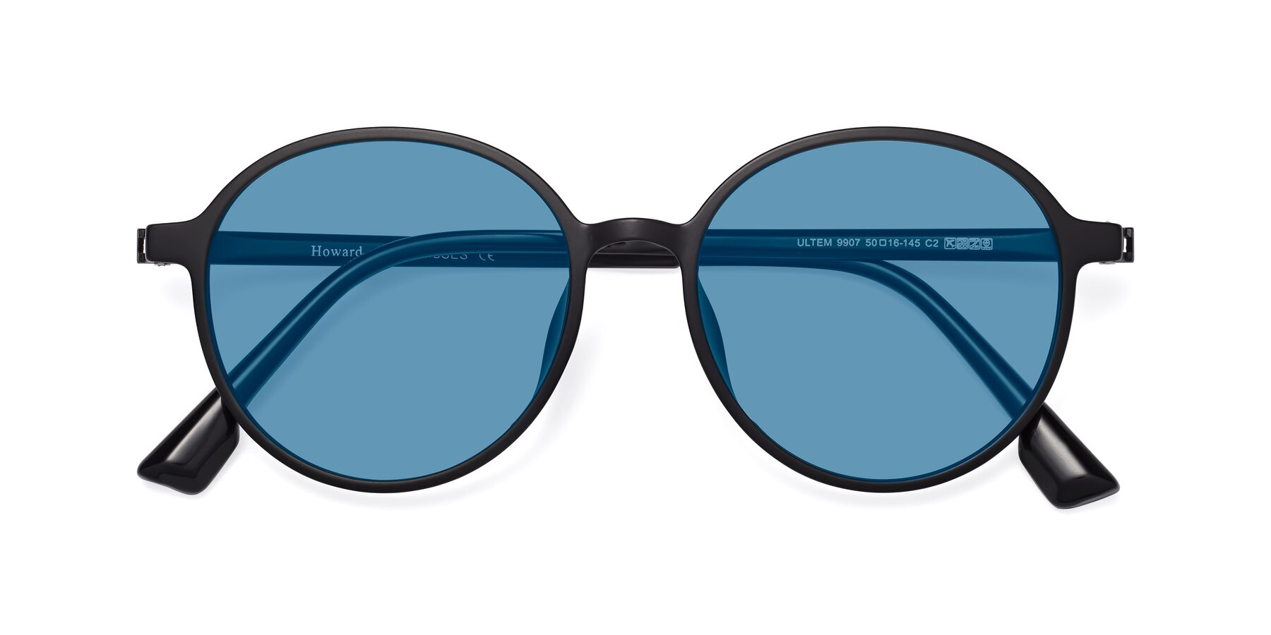 Folded Front of Howard in Matte Black with Medium Blue Tinted Lenses