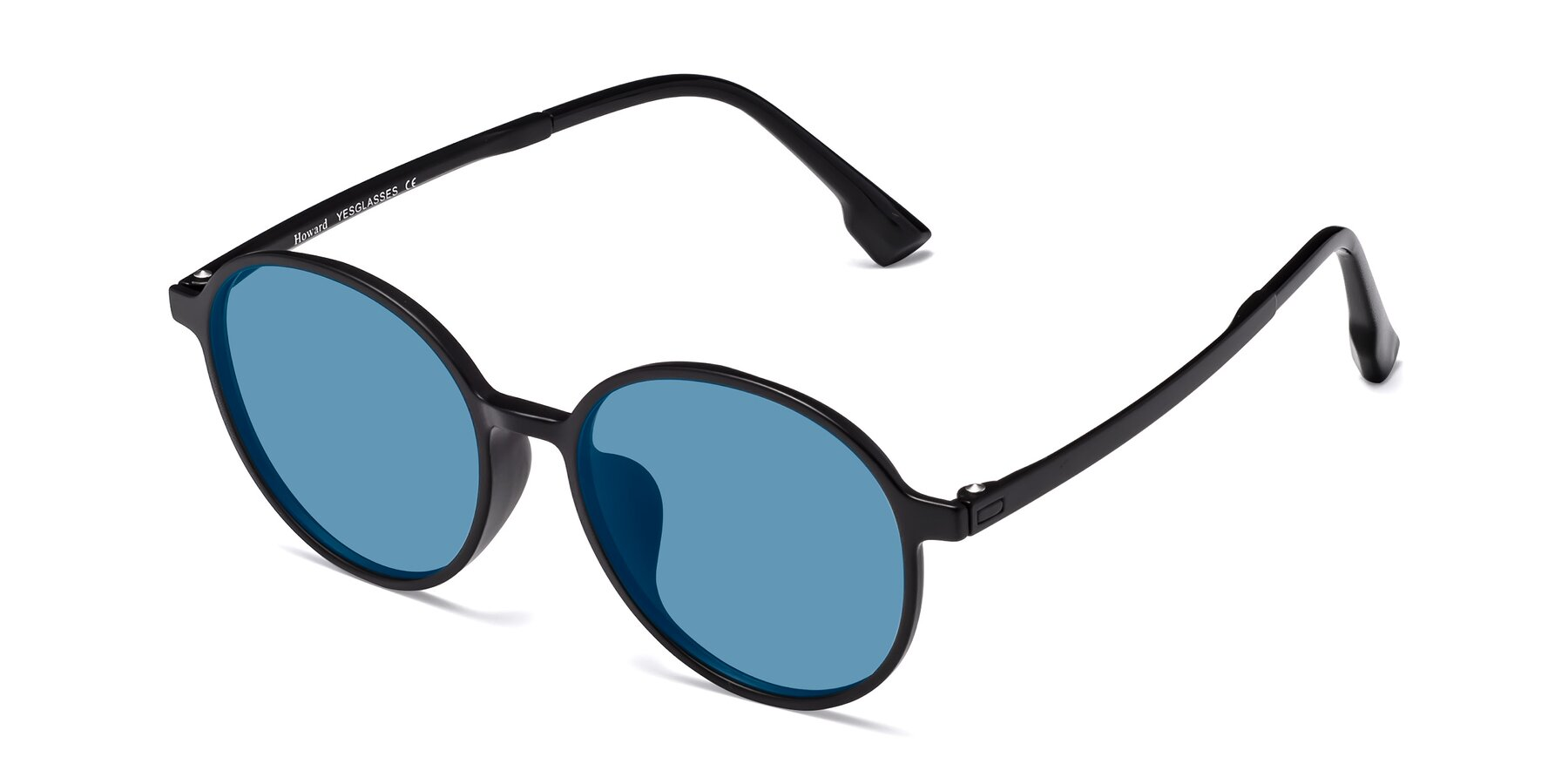 Angle of Howard in Matte Black with Medium Blue Tinted Lenses