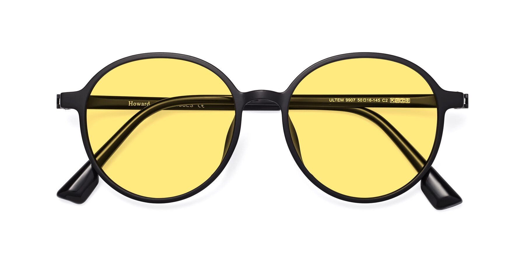 Folded Front of Howard in Matte Black with Medium Yellow Tinted Lenses