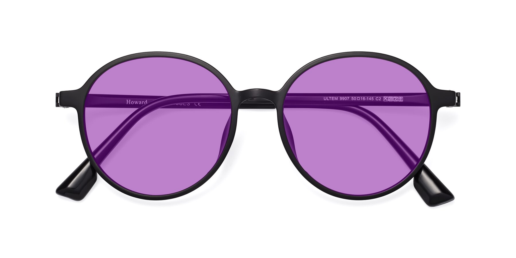 Folded Front of Howard in Matte Black with Medium Purple Tinted Lenses