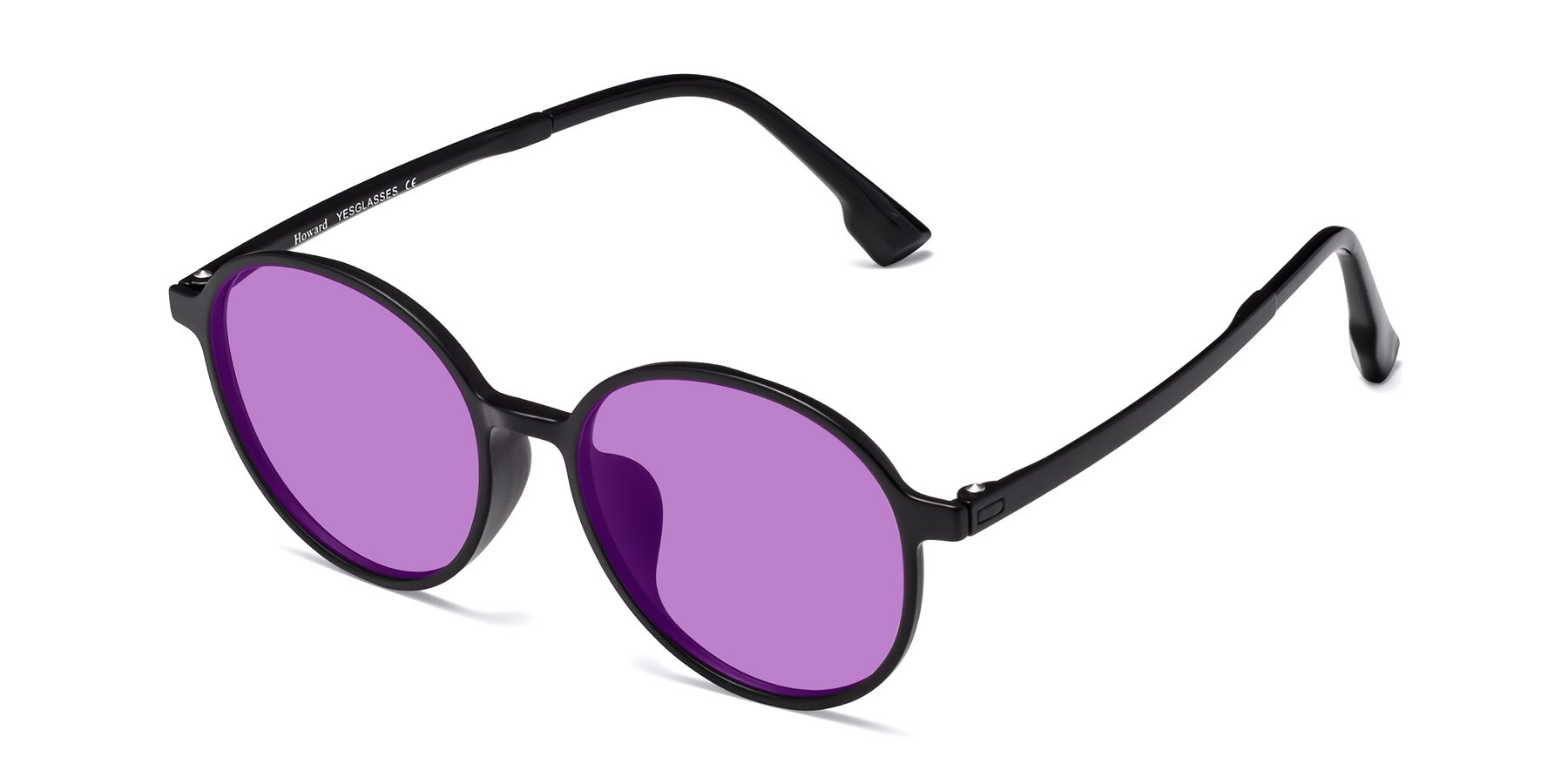Angle of Howard in Matte Black with Medium Purple Tinted Lenses