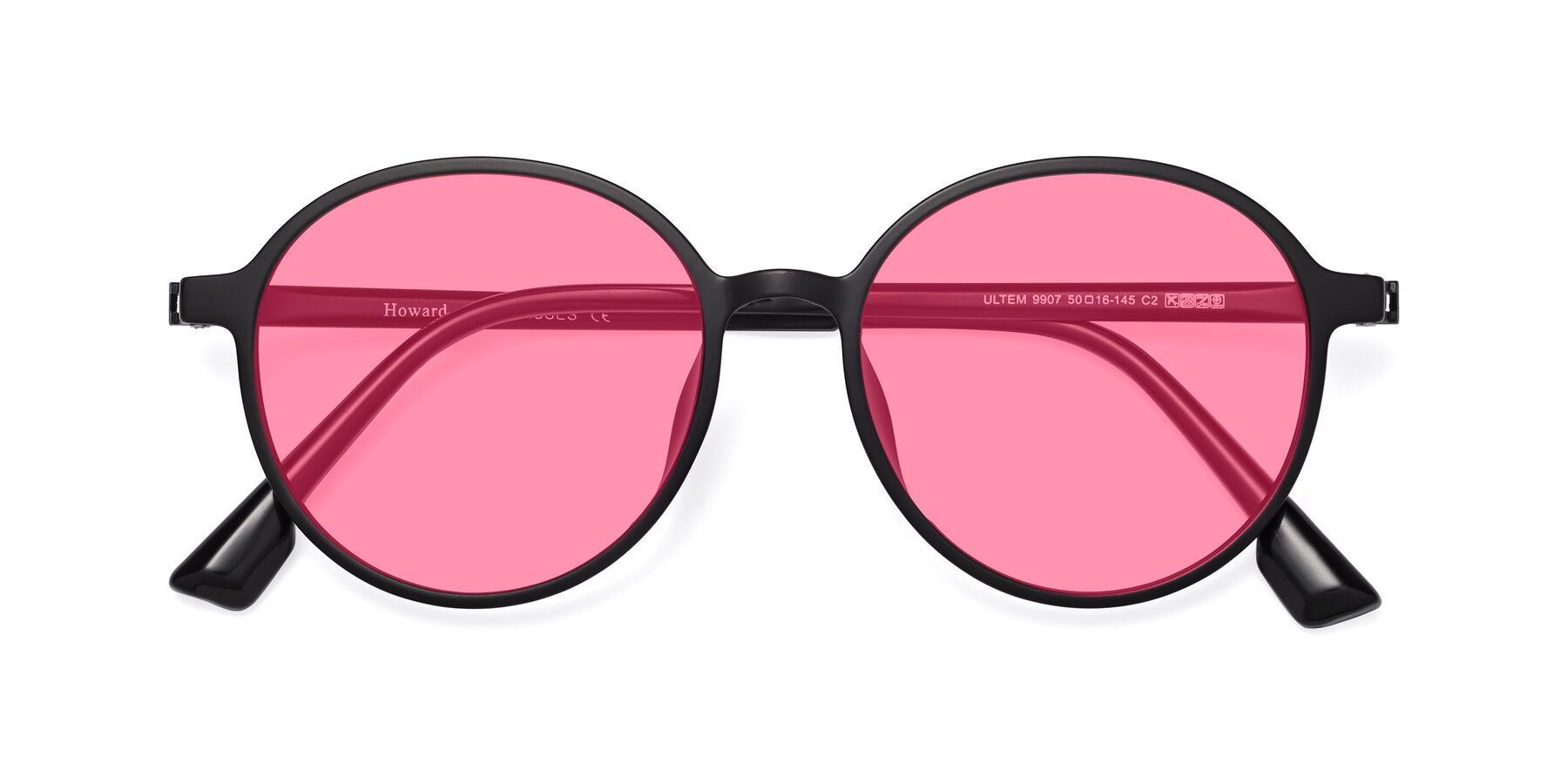 Folded Front of Howard in Matte Black with Pink Tinted Lenses