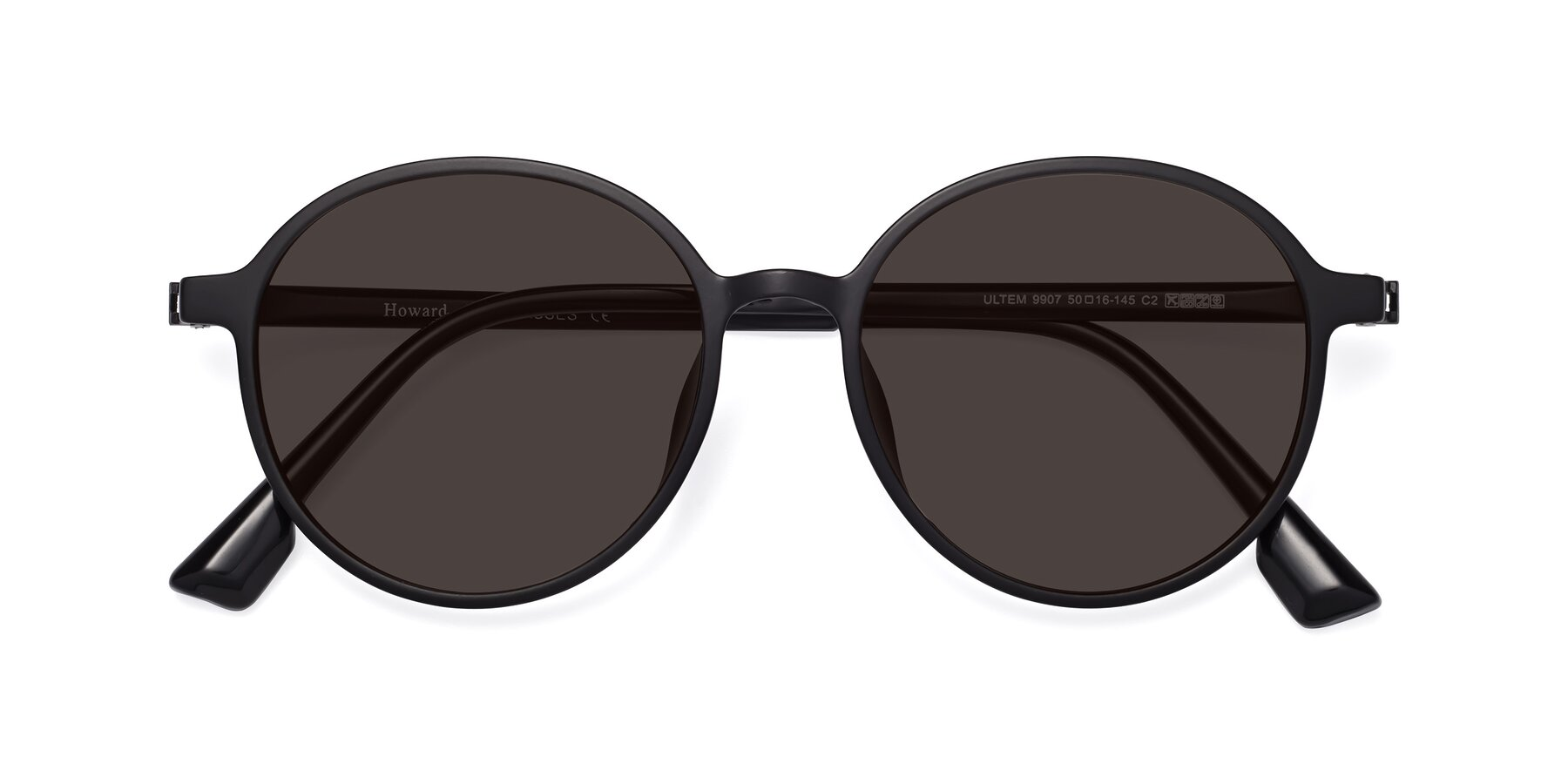 Folded Front of Howard in Matte Black with Gray Tinted Lenses